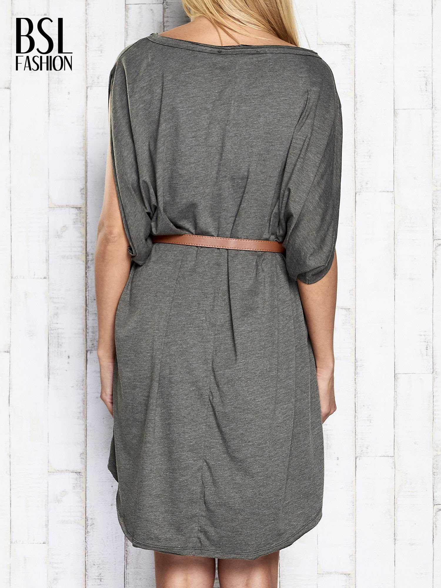 Khaki melanżowa sukienka oversize z guzikami                                  zdj.                                  5