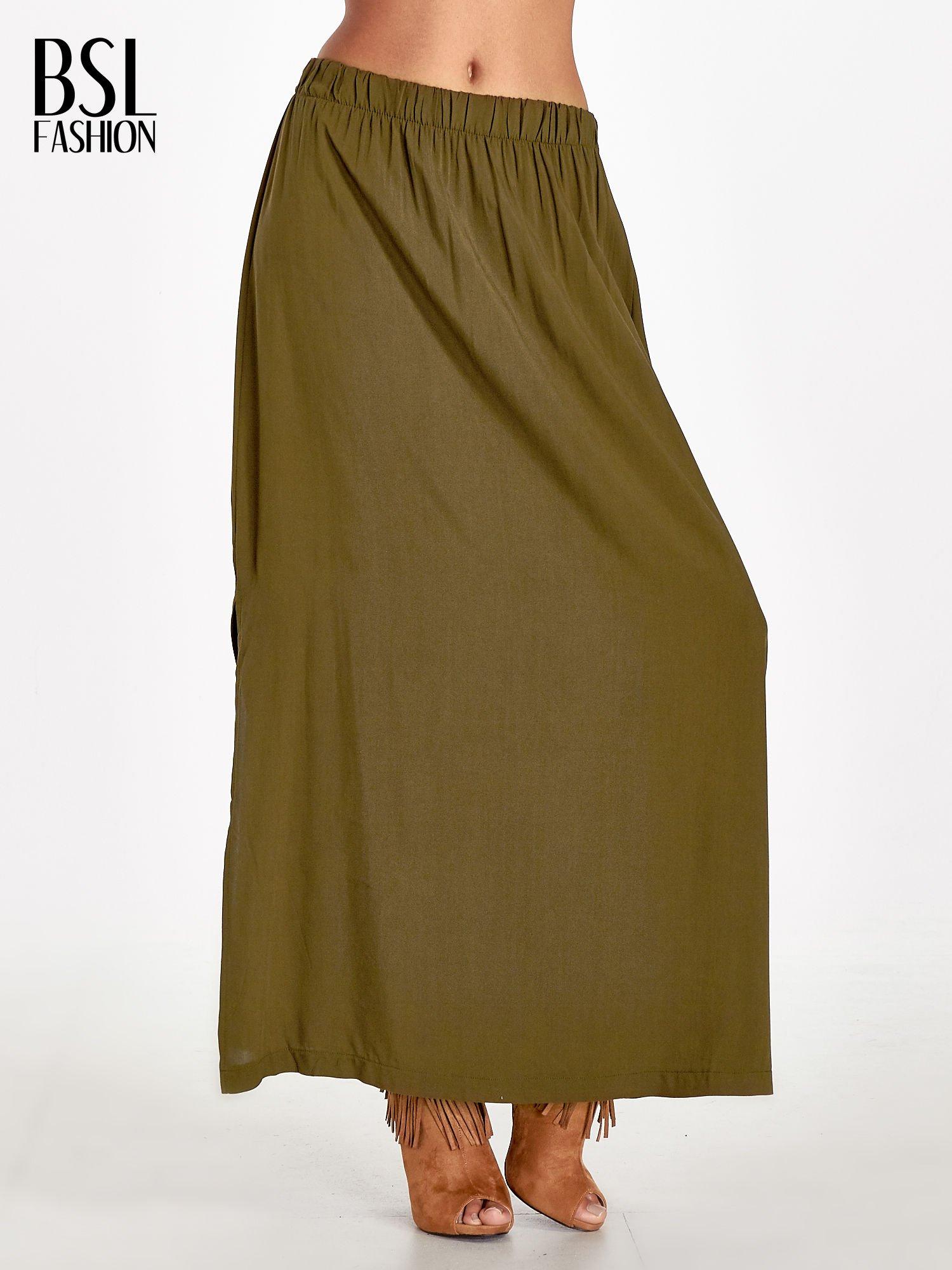 Khaki spódnica maxi z rozporkiem                                  zdj.                                  1