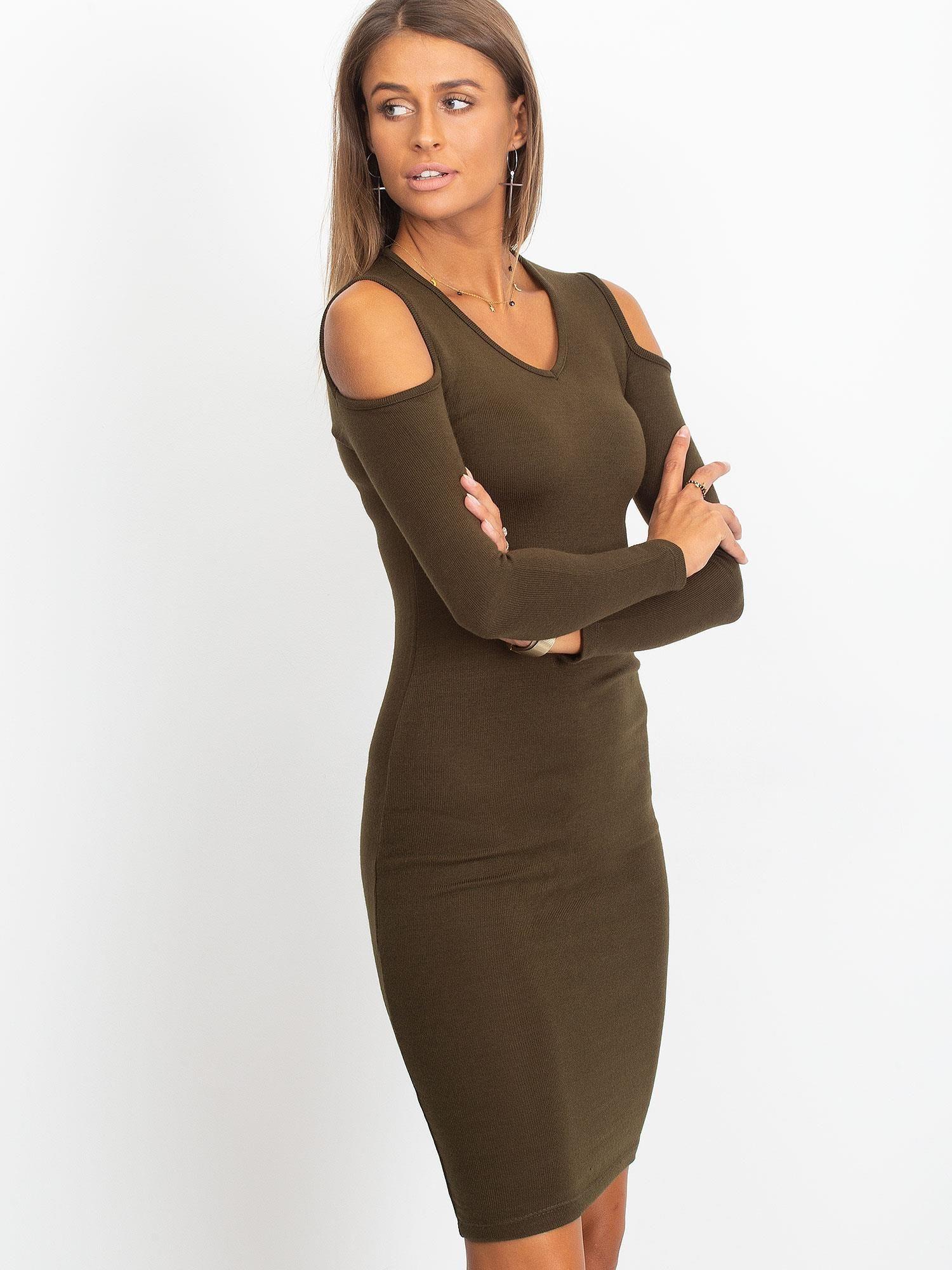 b526d15b50 Khaki sukienka z dzianiny cold arms - Sukienka dzianinowa - sklep ...