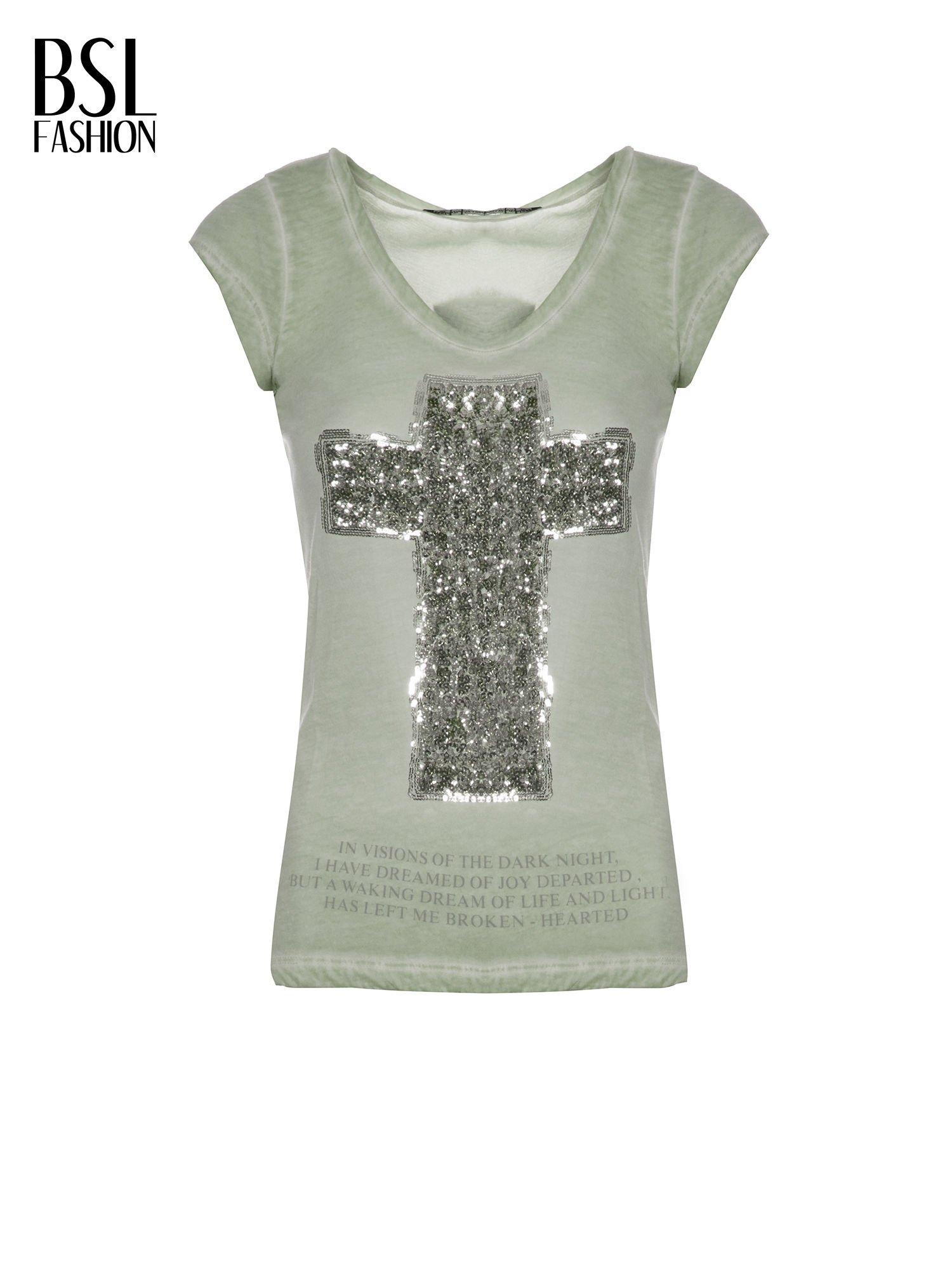 Khaki t-shirt z cekinowym krzyżem                                  zdj.                                  2