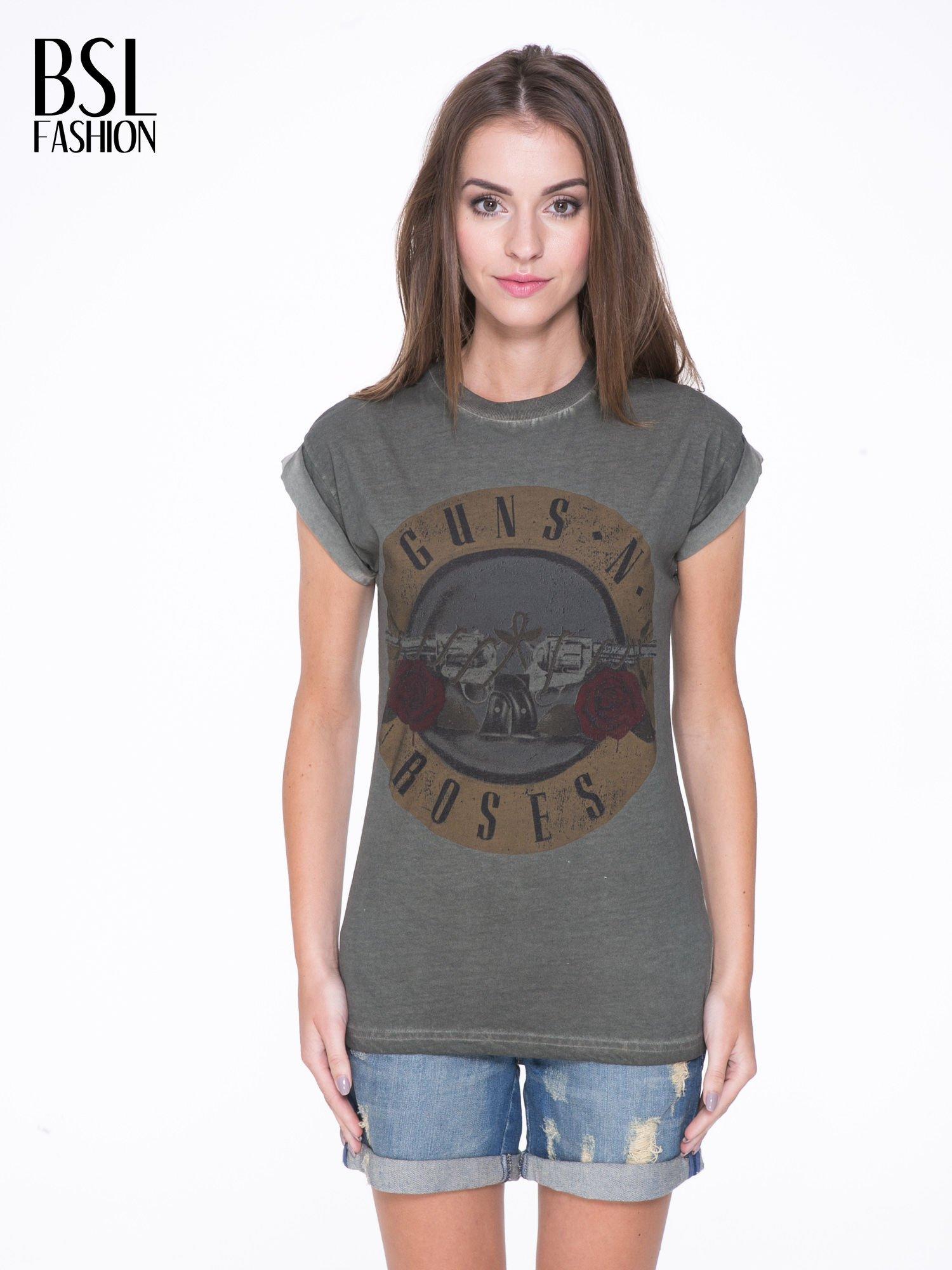Khaki t-shirt z nadrukiem GUNS N' ROSES                                  zdj.                                  1