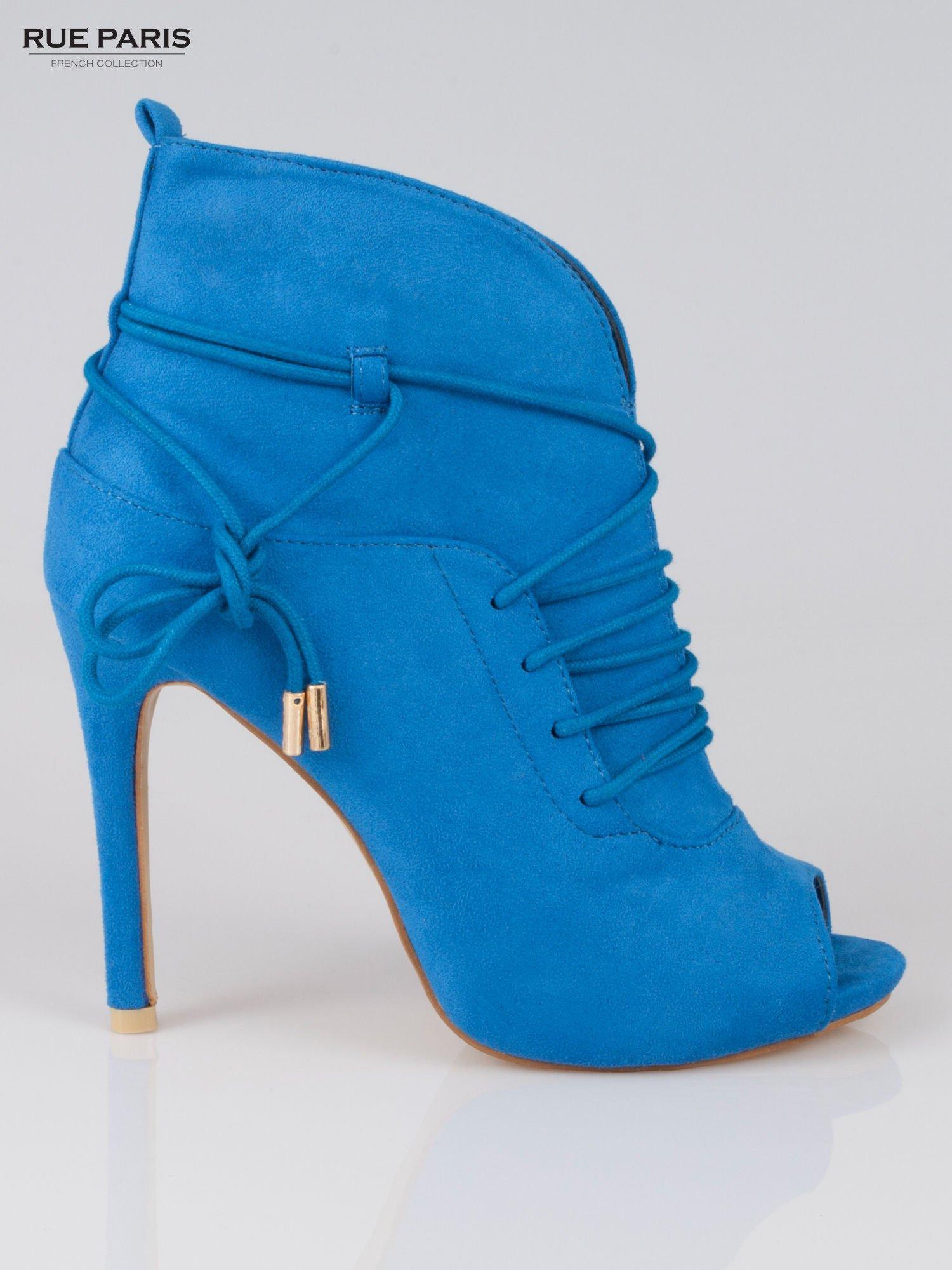 Kobaltowe wiązane botki faux suede Elsa lace up                                  zdj.                                  1