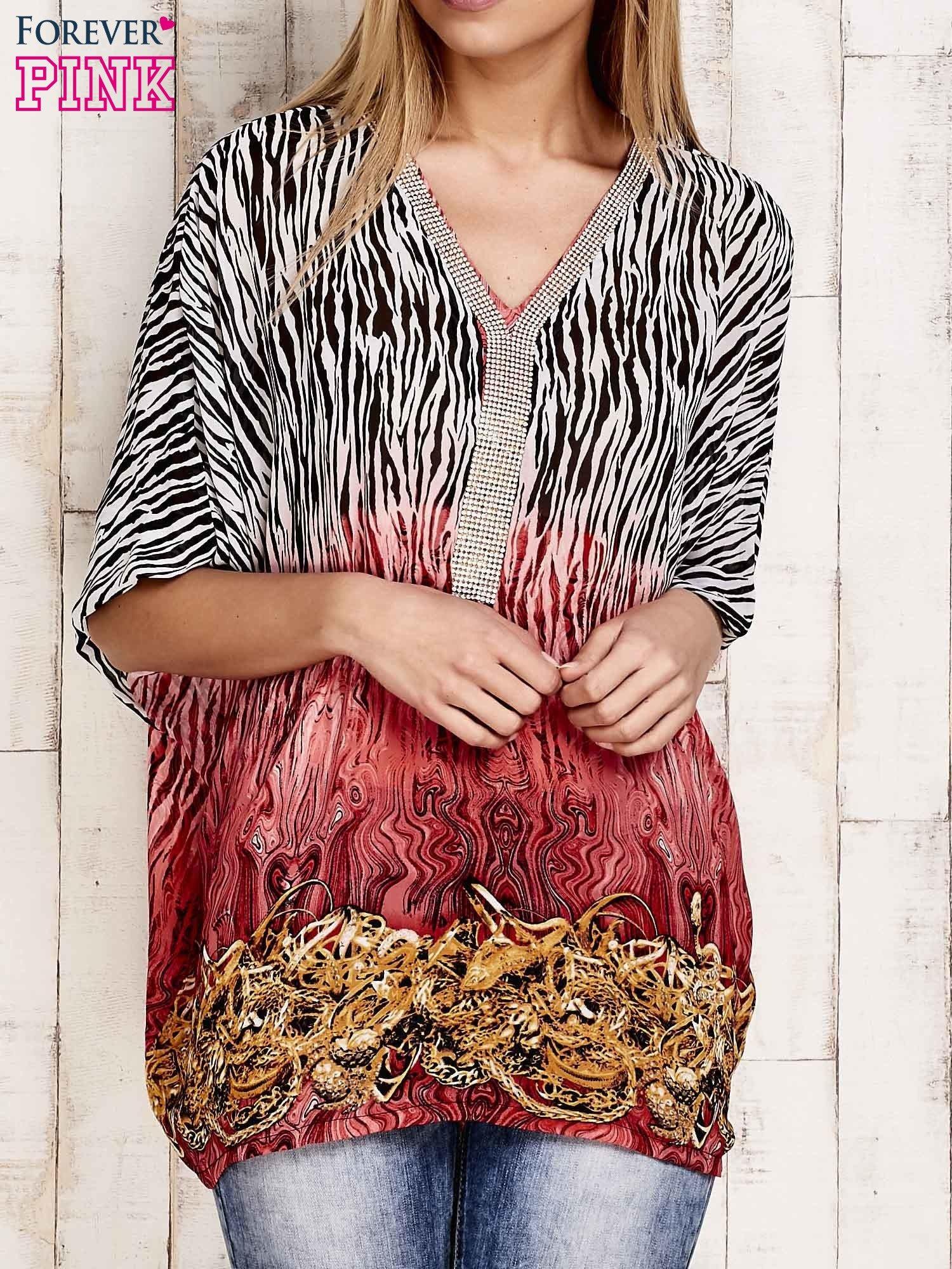 Koralowa wzorzysta koszula oversize z dekoltem z cyrkonii                                  zdj.                                  1