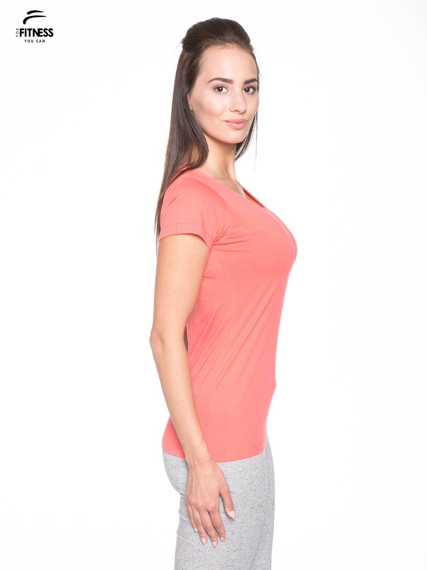 Koralowy bawełniany t-shirt damski typu basic                                  zdj.                                  3