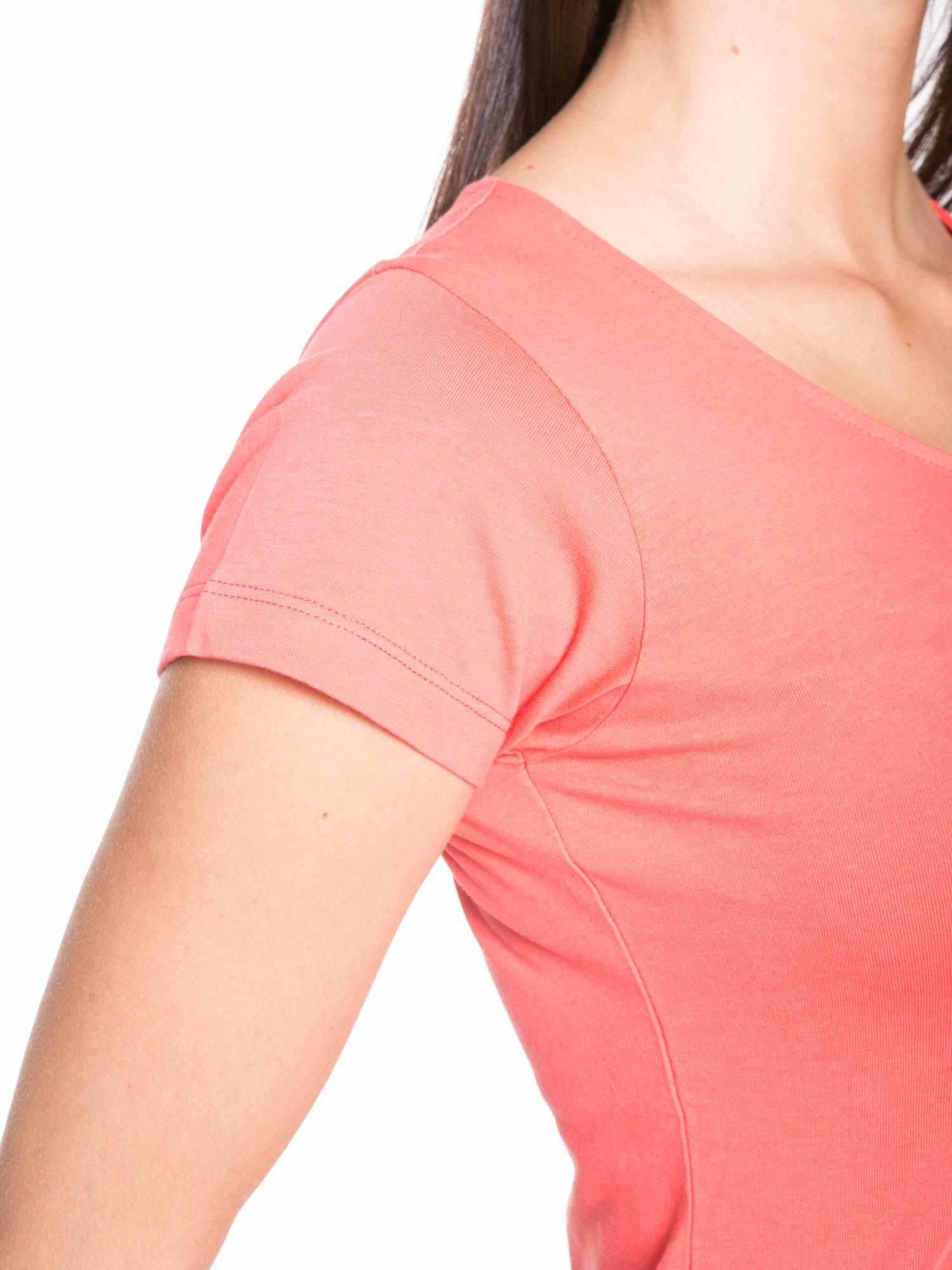 Koralowy bawełniany t-shirt damski typu basic                                  zdj.                                  6