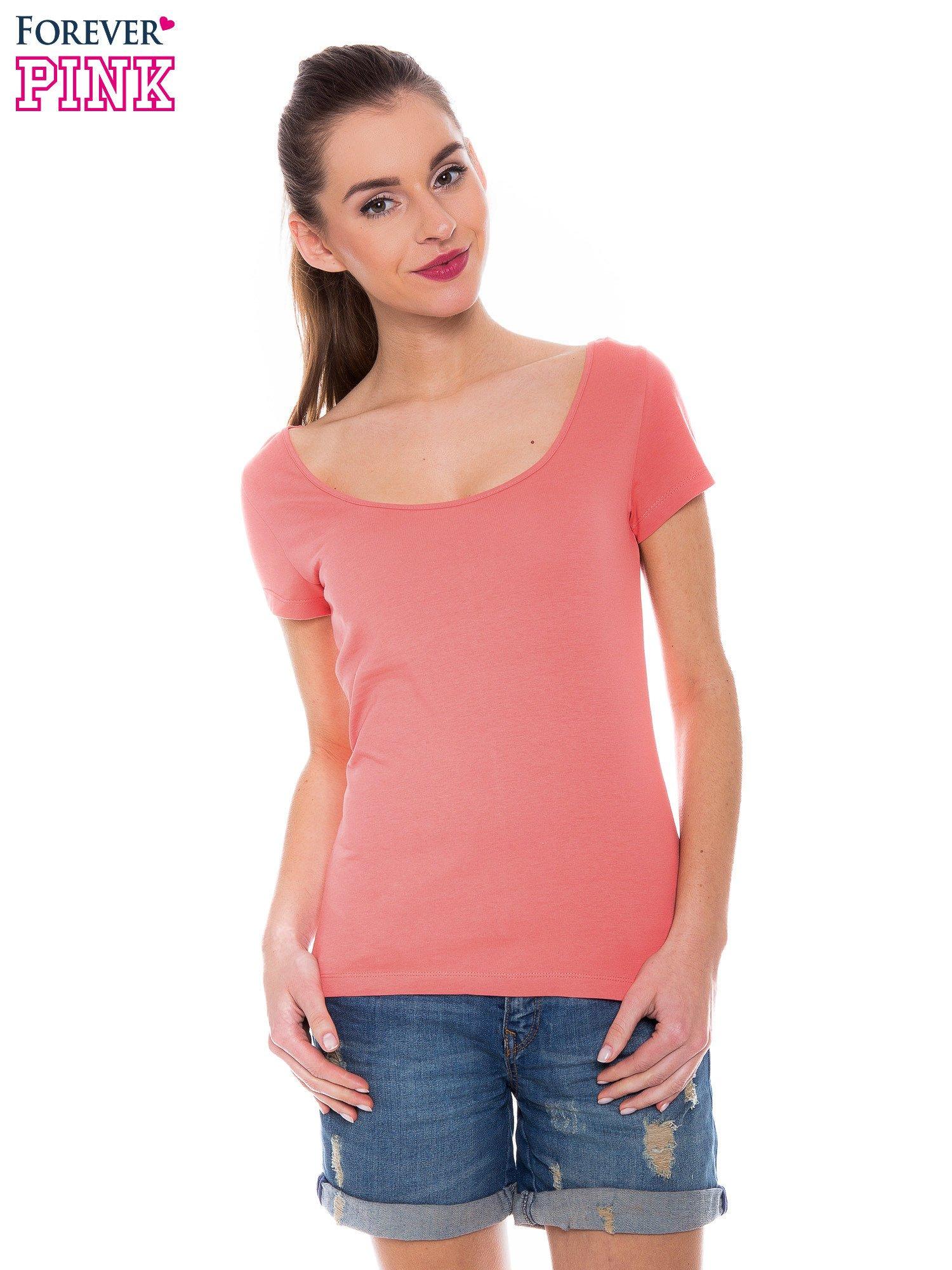 Koralowy gładki t-shirt z marszczeniem z tyłu                                  zdj.                                  1