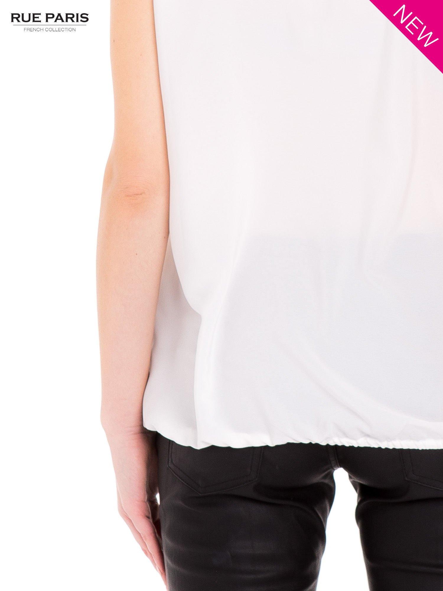 Koszula ecru z biżuteryjnym dekoltem ozdobionym kamieniami                                  zdj.                                  6