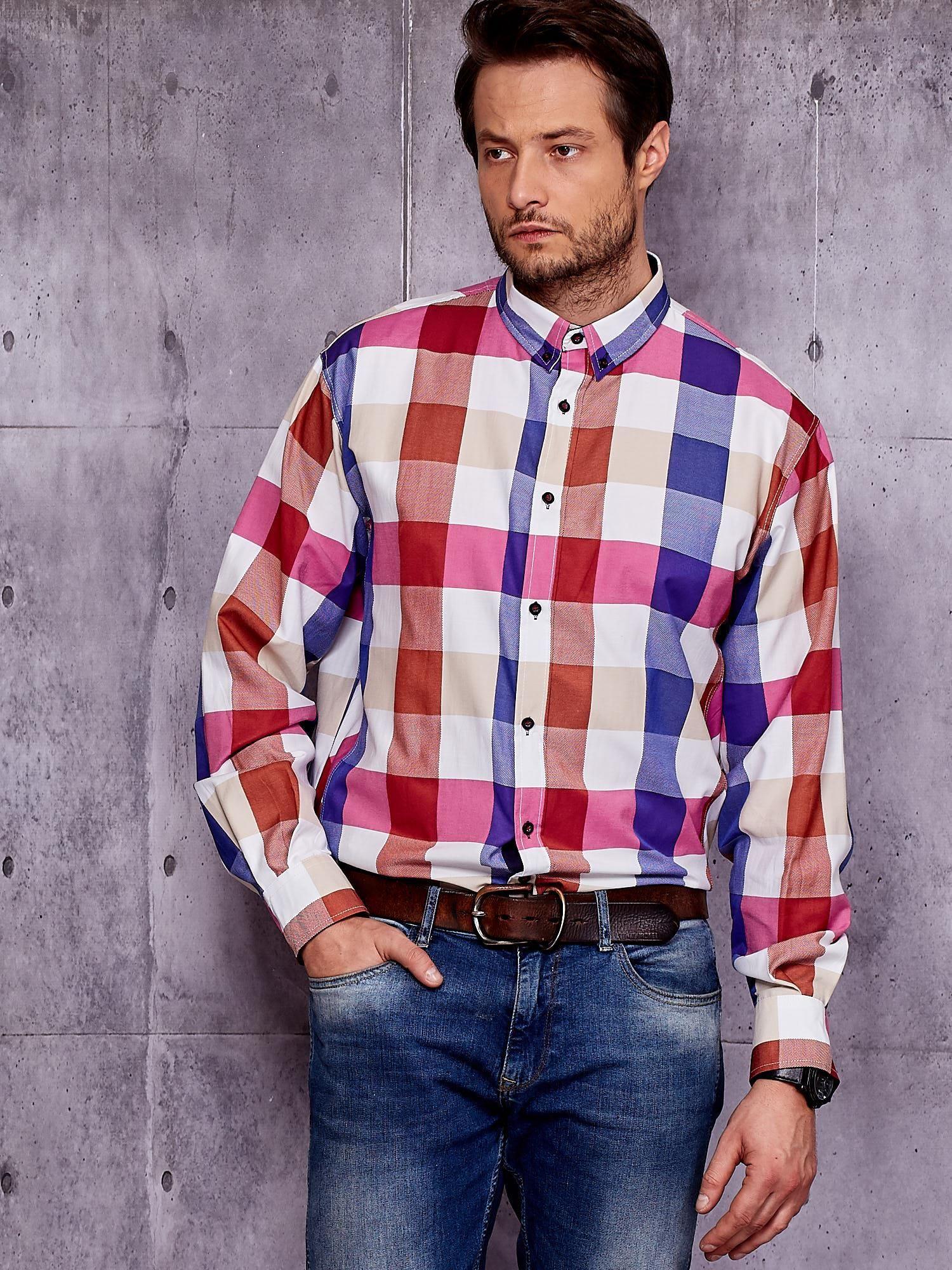 7ca0a9b44f1e Koszula męska w szeroką kolorową kratę PLUS SIZE - Mężczyźni koszula ...
