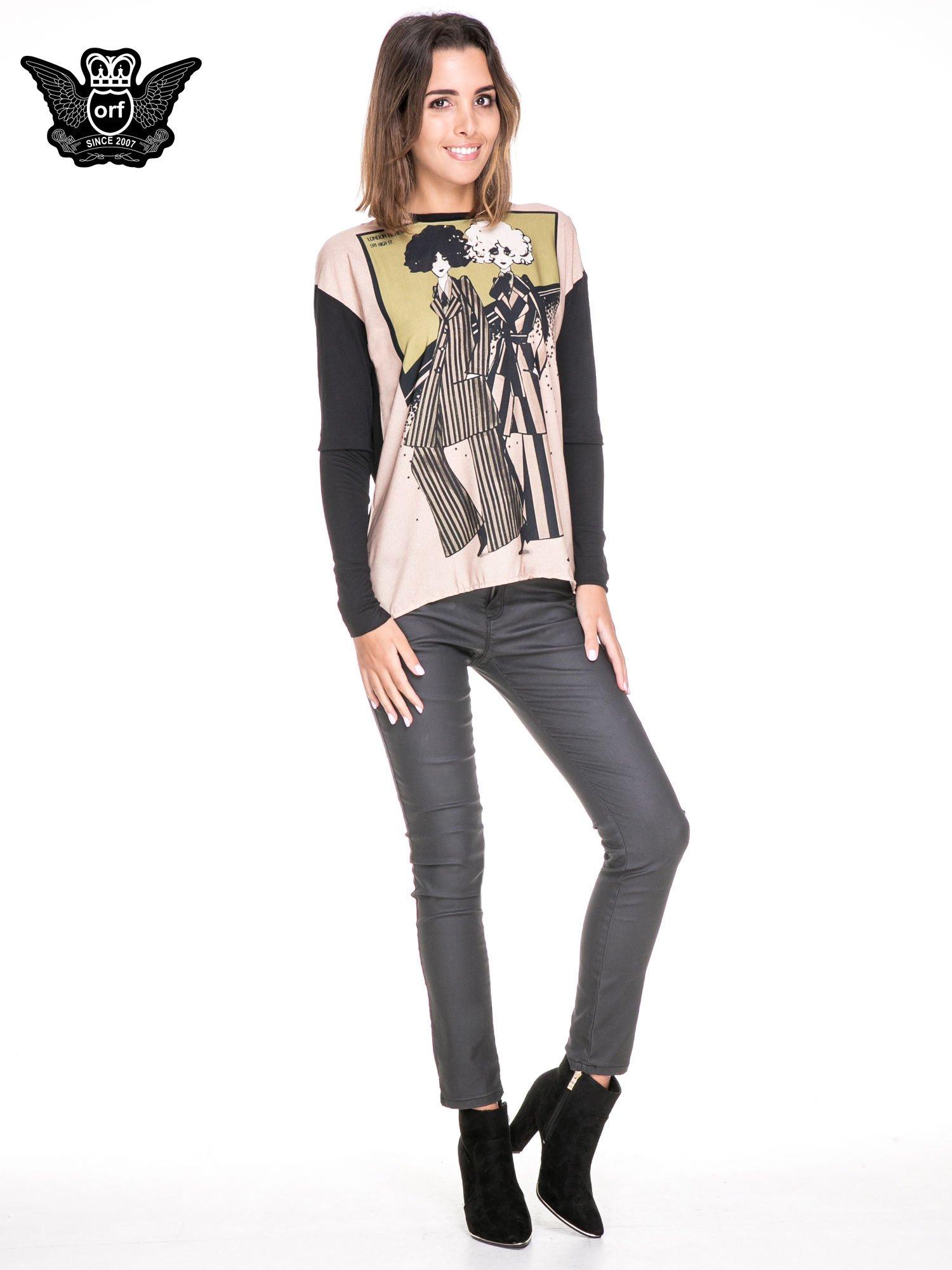 Koszula z satynowym przodem i nadrukiem kobiet                                  zdj.                                  4