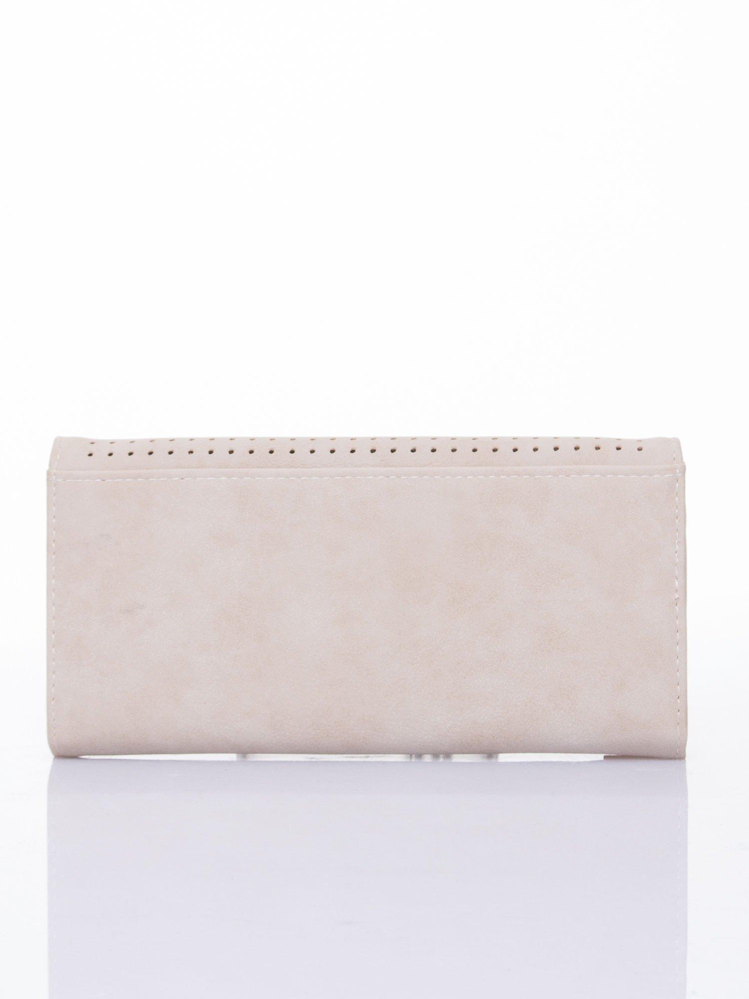 Kremowy dziurkowany portfel ze złotym wykończeniem                                  zdj.                                  2