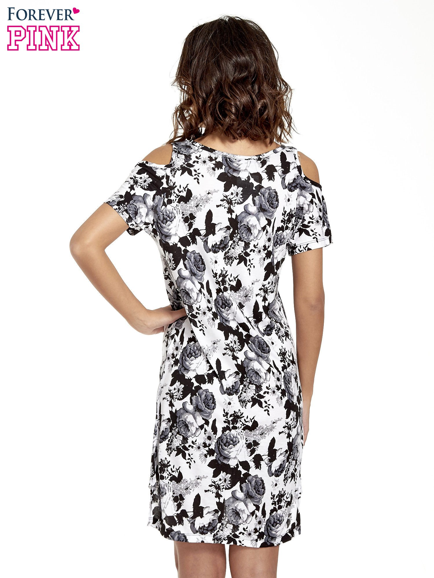 Kwiatowa sukienka cut out shoulder                                  zdj.                                  4