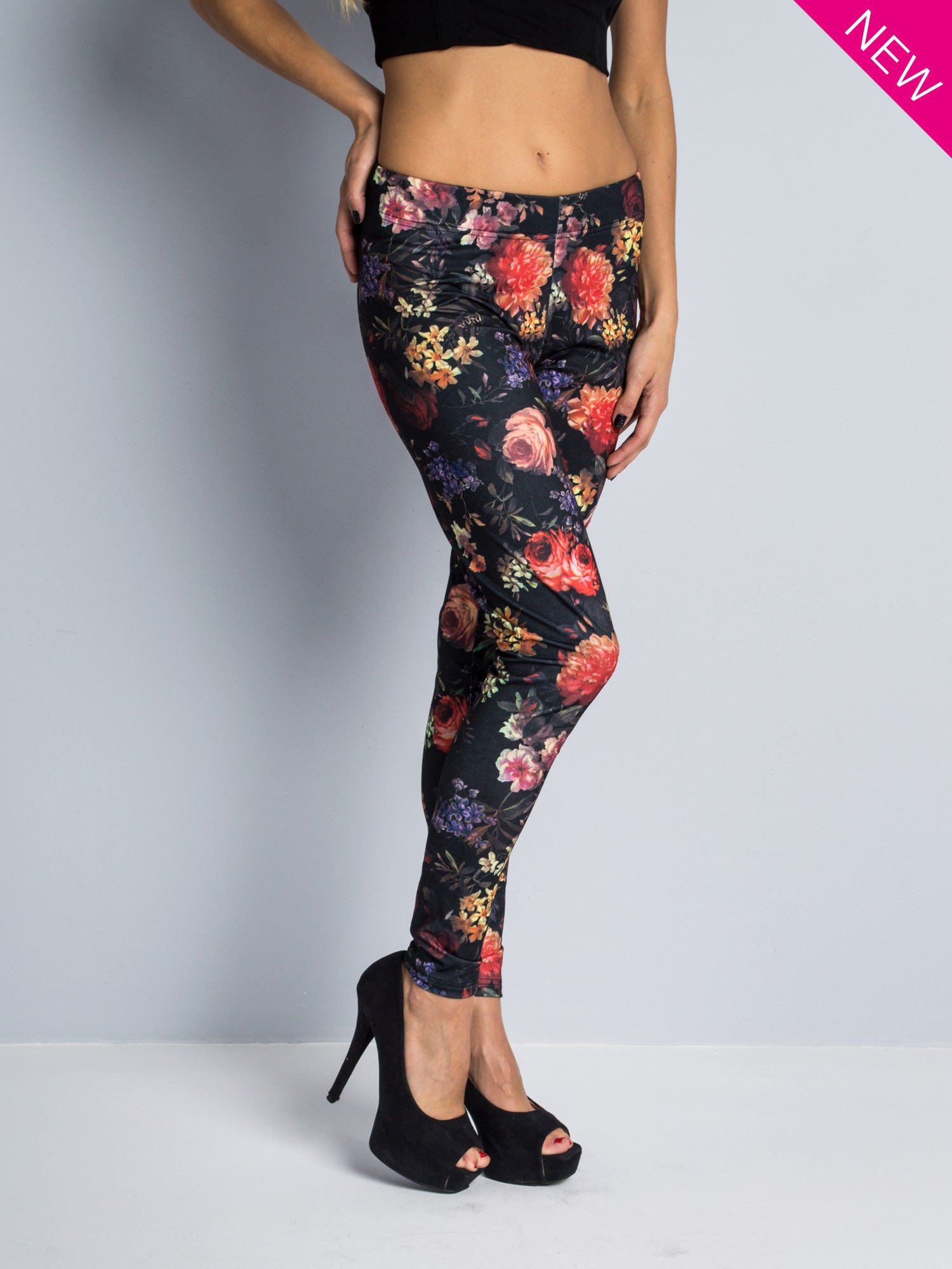 Kwiatowe legginsy elastyczne                                  zdj.                                  1