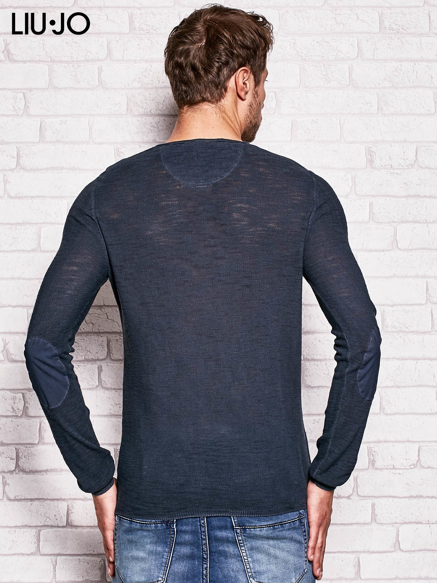 LIU JO Grafitowa bluzka męska z guzikami