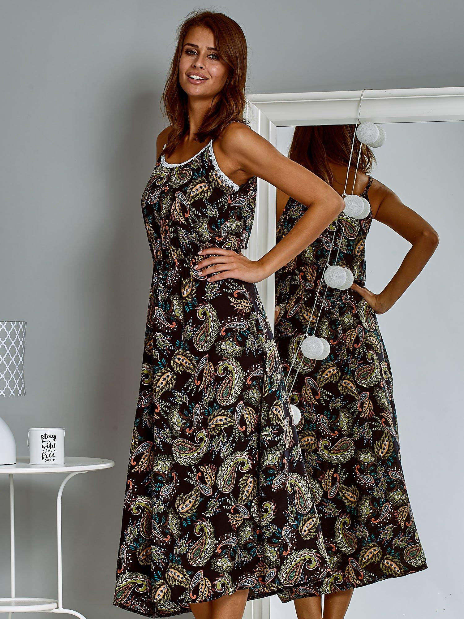 4e43942242 Letnia sukienka maxi z nadrukiem paisley czarna - Sukienka na wesele ...
