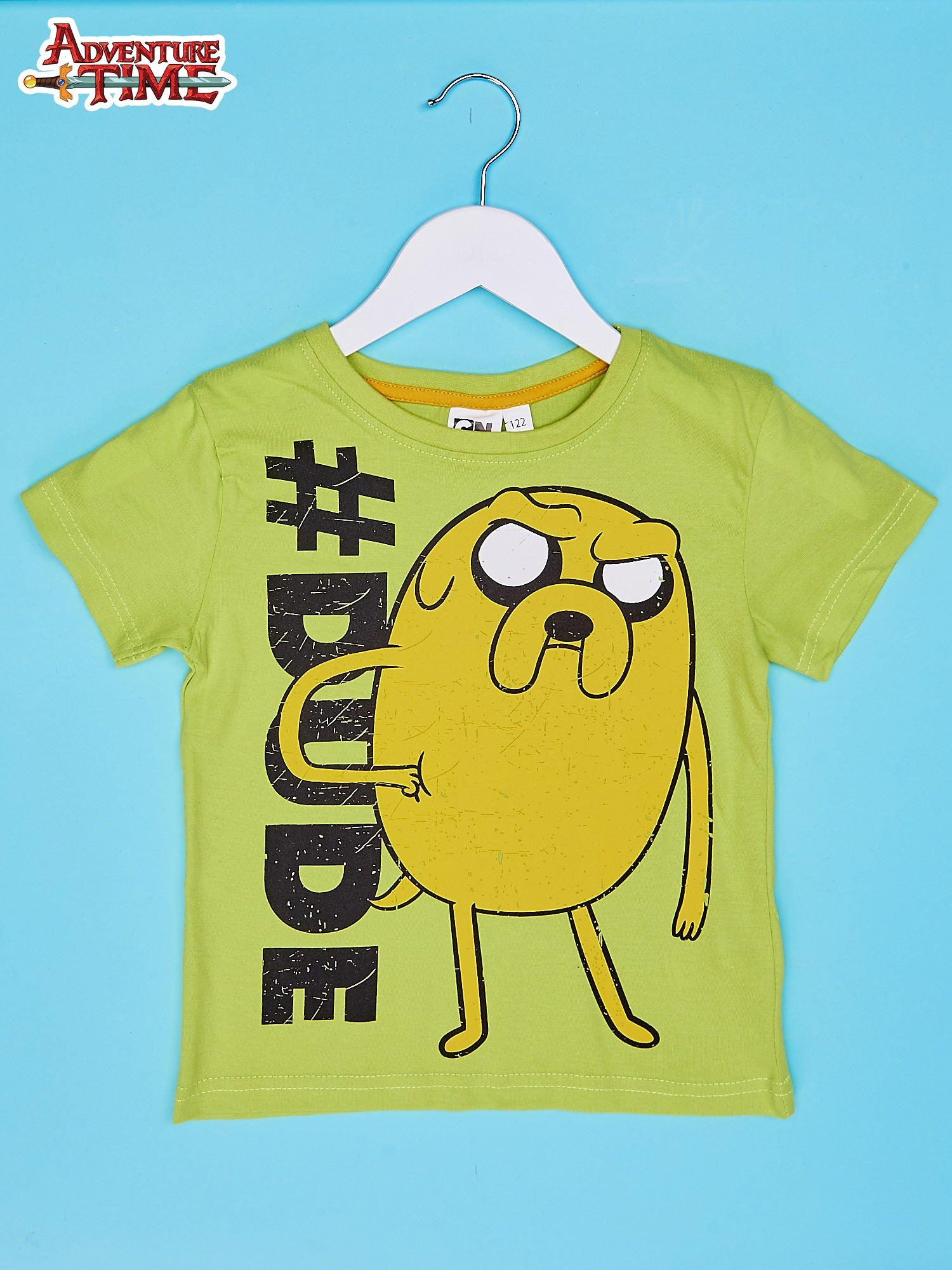 Limonkowy t-shirt chłopięcy z motywem ADVENTURE TIME                                   zdj.                                  1