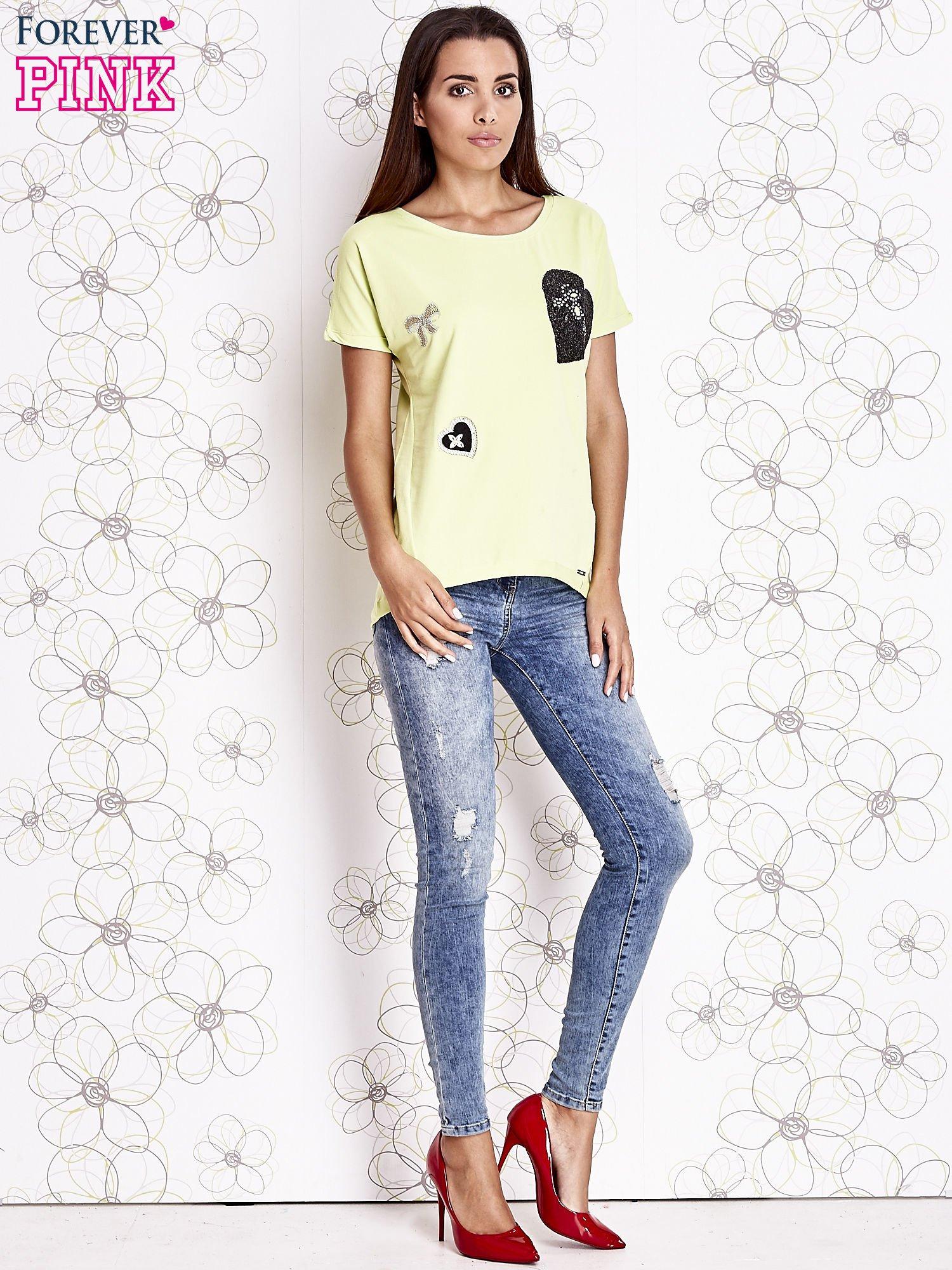 Limonkowy t-shirt z motywem serca i kokardki                                  zdj.                                  3