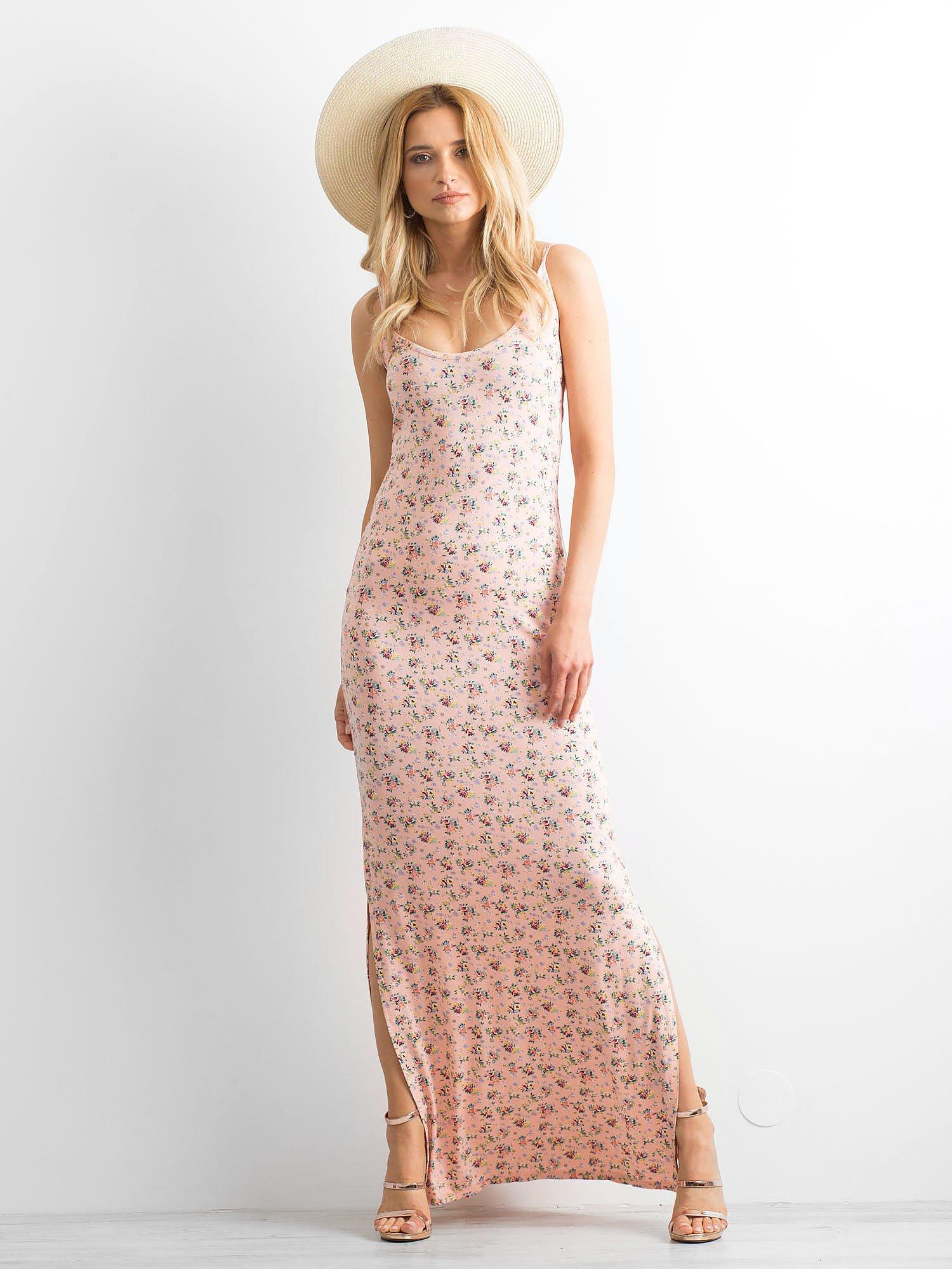 Łososiowa sukienka maxi na ramiączkach w łączkę                                  zdj.                                  5