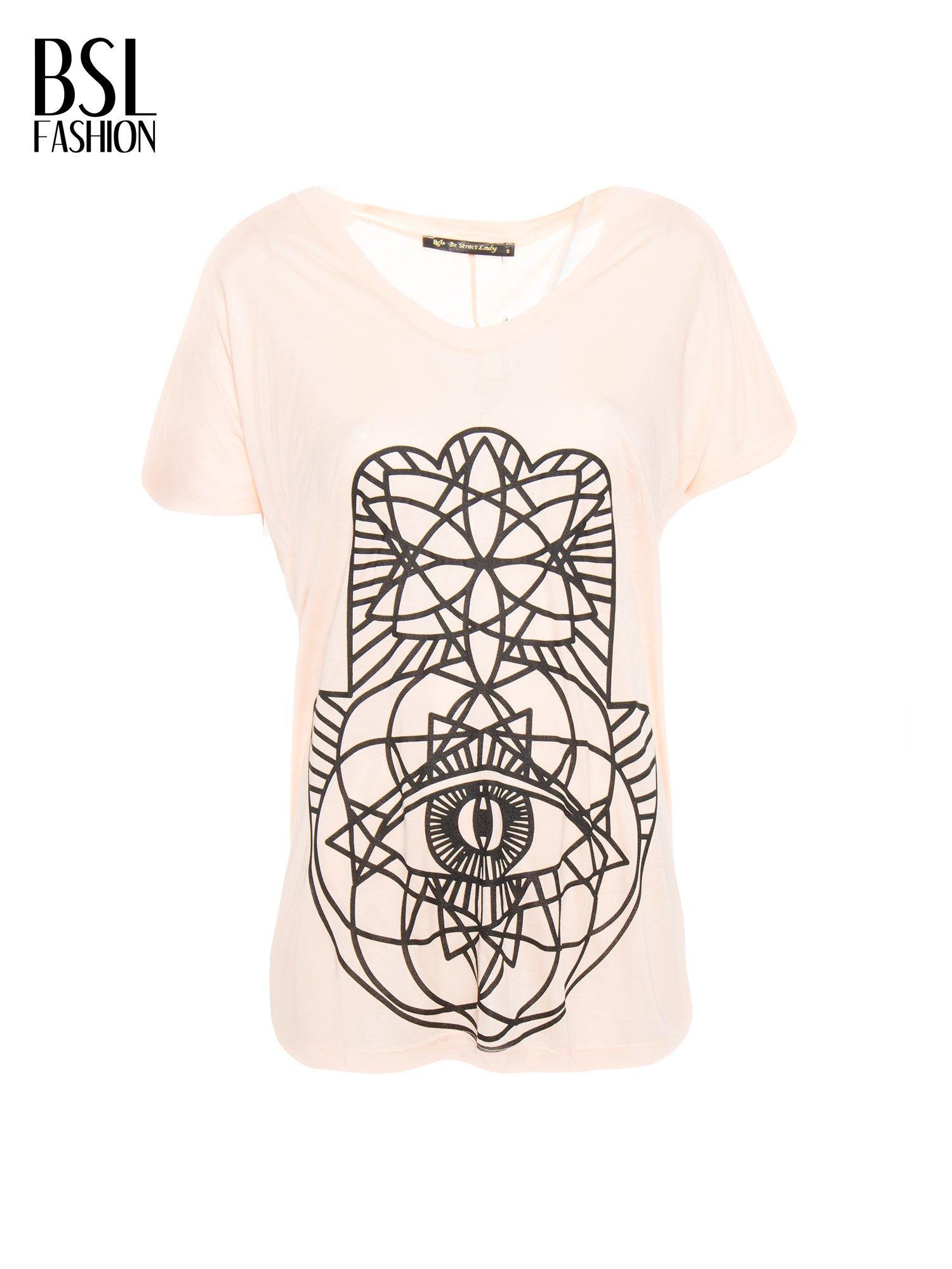 Łososiowy t-shirt z ornamentowym nadrukiem                                  zdj.                                  2