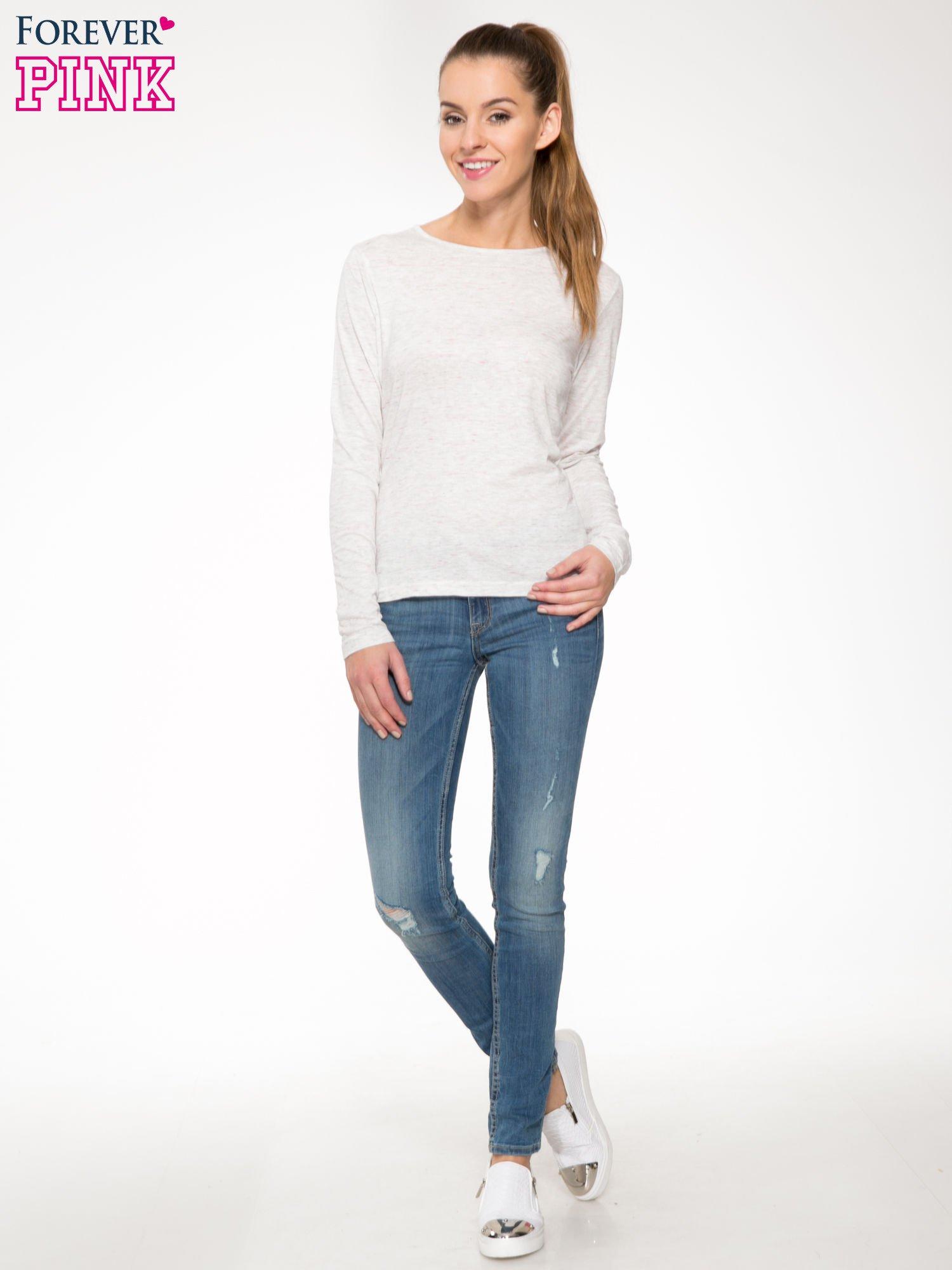 Melanżoworóżowa bawełniana bluzka typu basic z długim rękawem                                  zdj.                                  2
