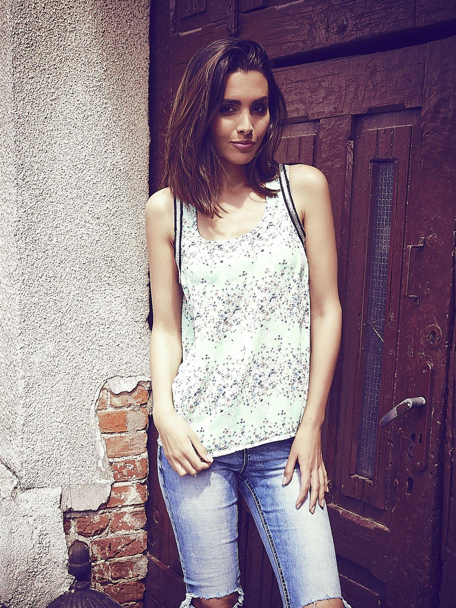 Miętowa bluzka koszulowa w łączkę                                  zdj.                                  1