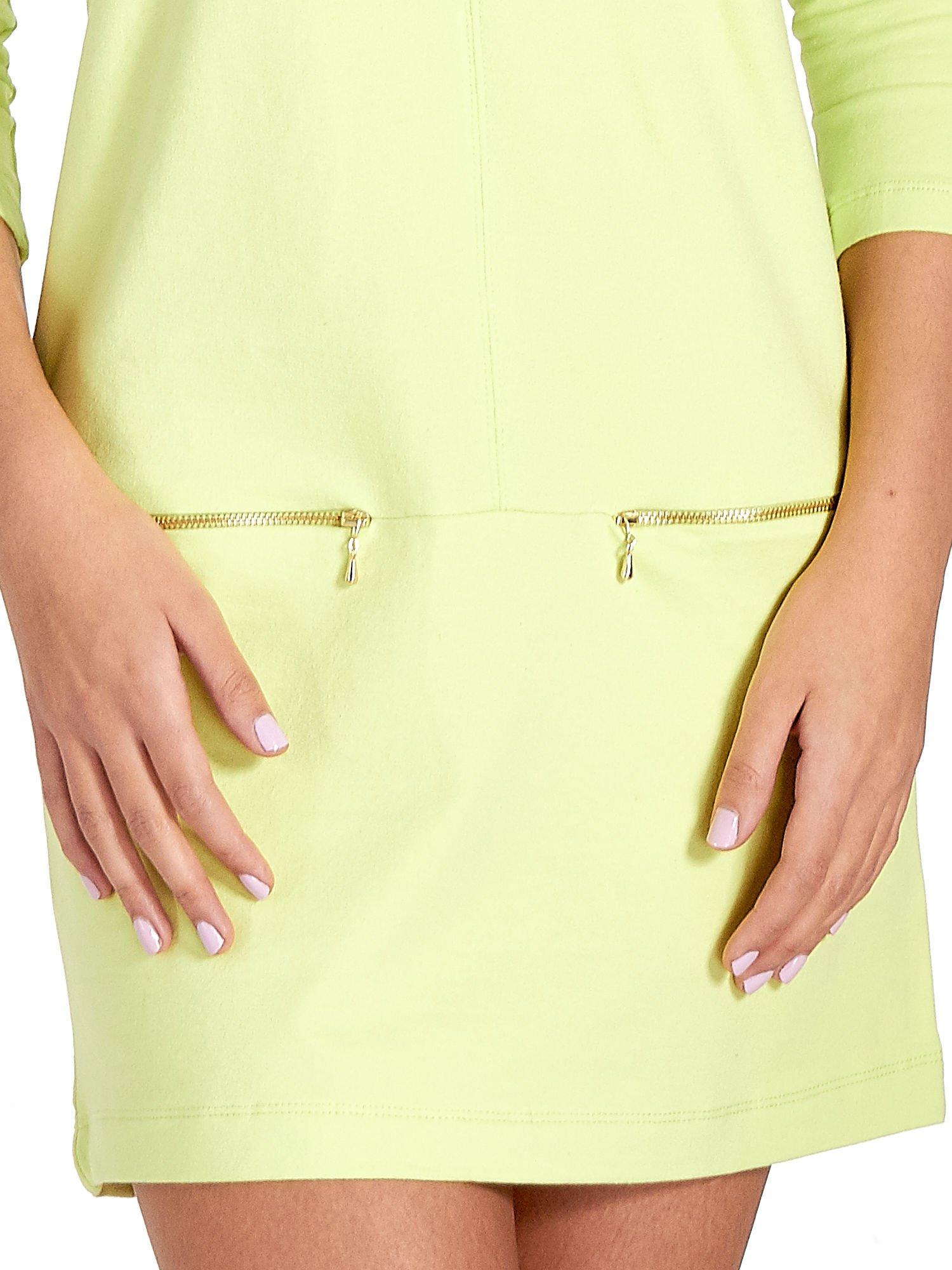 Miętowa sukienka ze złotymi suwakami                                  zdj.                                  5