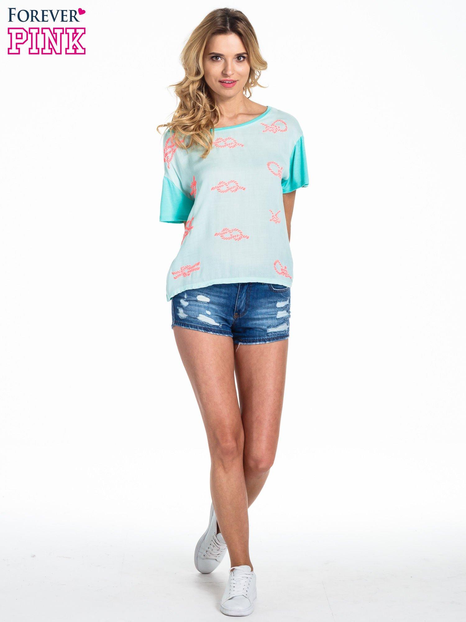 Miętowy t-shirt z nadrukiem nieskończoności                                  zdj.                                  2