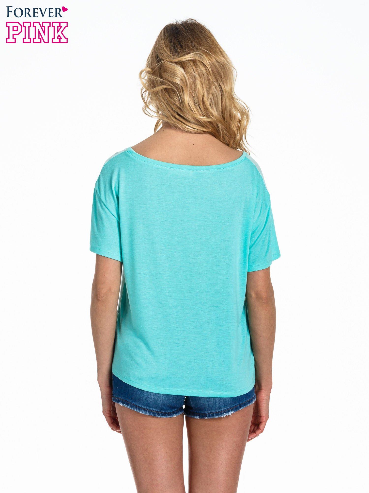 Miętowy t-shirt z nadrukiem nieskończoności                                  zdj.                                  4