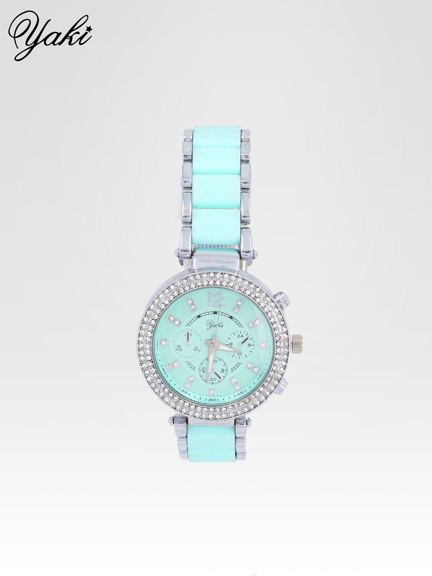 Miętowy zegarek na bransolecie z cyrkoniami na tarczy                                  zdj.                                  1