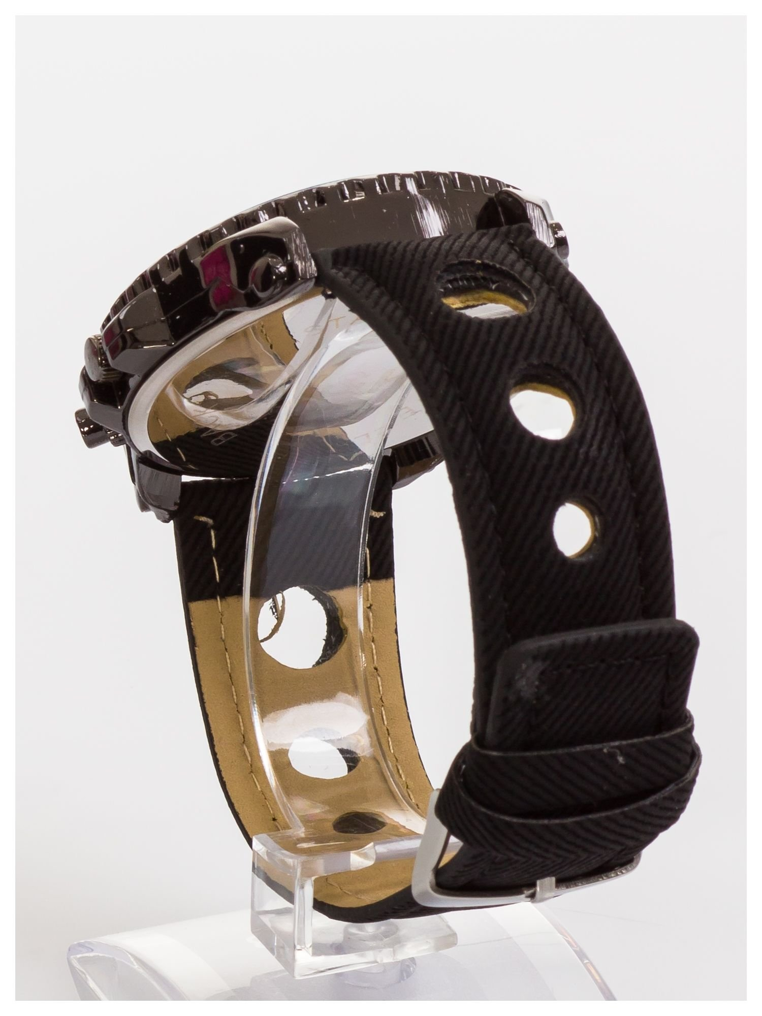 N&K Zegarek męski. Duża tarcza z ozdobnym tachometrem, opalizujące szkiełko oraz oryginalny pasek z wycięciami                                  zdj.                                  2