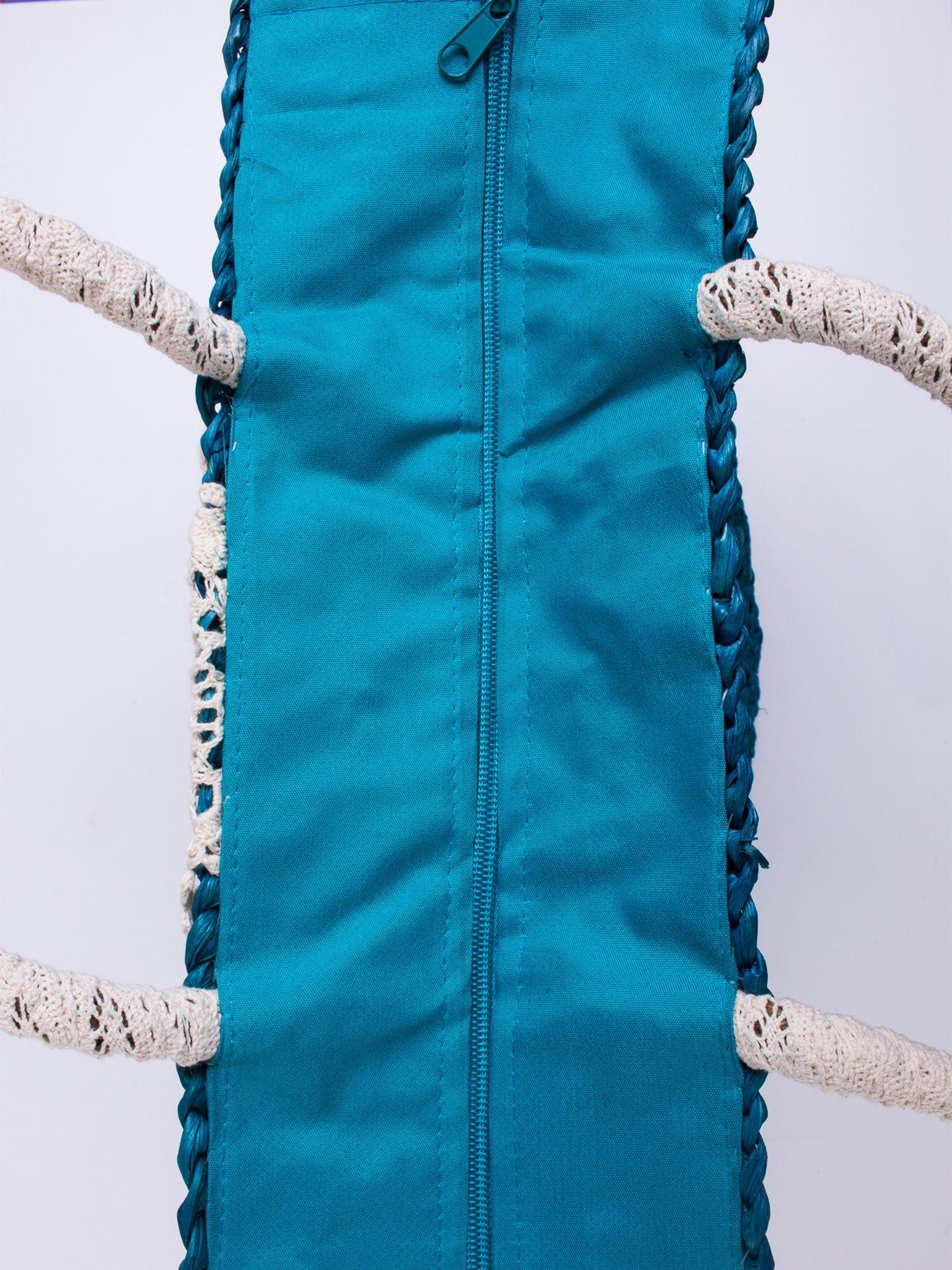 Niebiesk torba koszyk plażowy z haftem                                  zdj.                                  4
