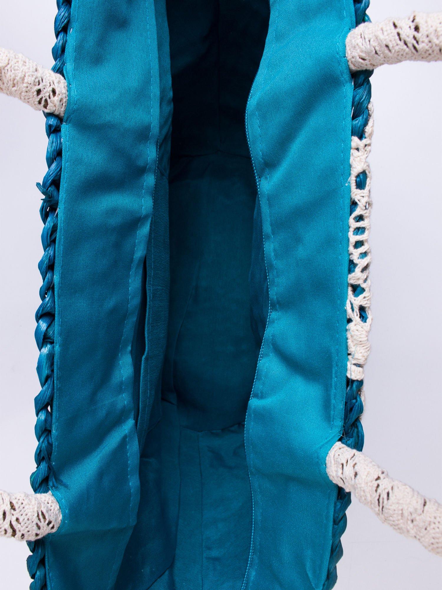Niebiesk torba koszyk plażowy z haftem                                  zdj.                                  5