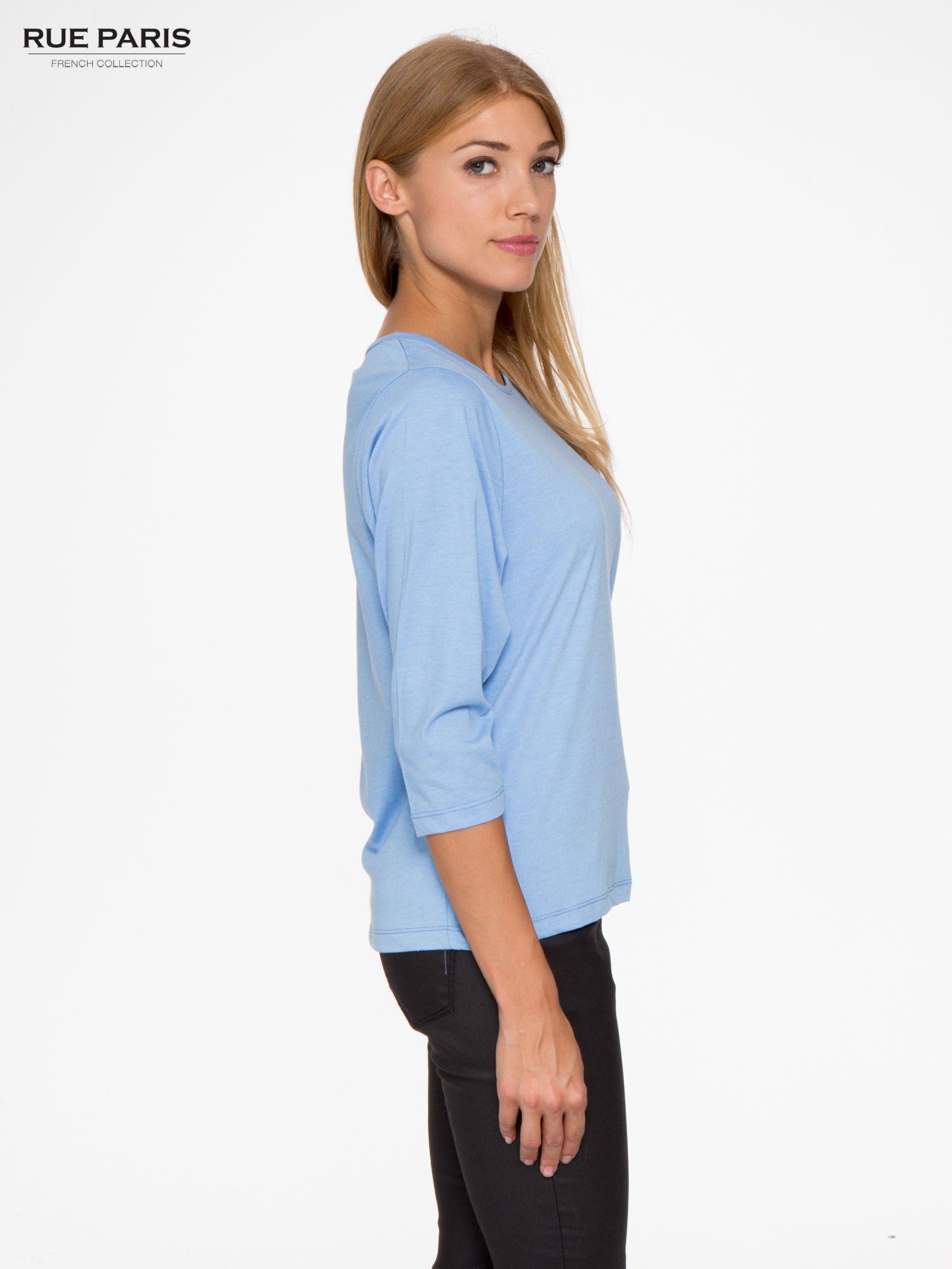 Niebieska basicowa bluzka z rękawem 3/4                                  zdj.                                  3