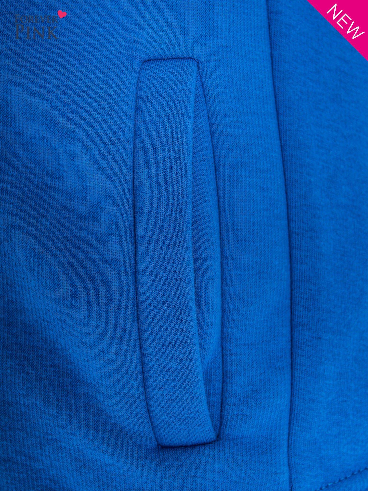 Niebieska bluza o kroju ramoneski z asymetrycznym suwakiem                                  zdj.                                  5