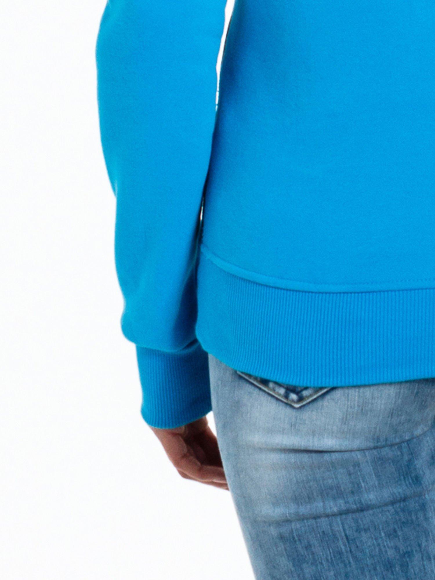 Niebieska bluza sportowa z kapturem i koronką                                  zdj.                                  9