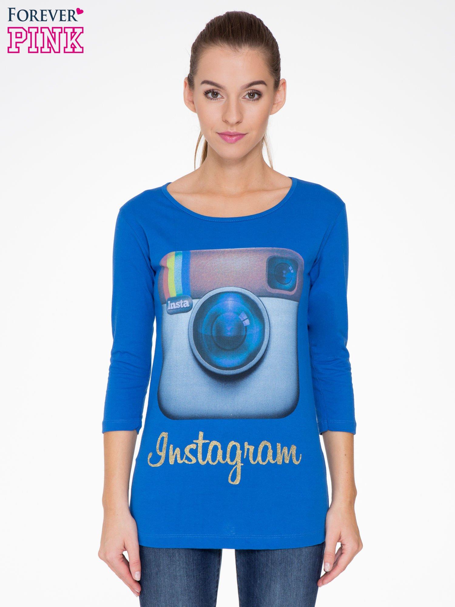 Niebieska bluzka z nadrukiem loga Instagrama                                  zdj.                                  1