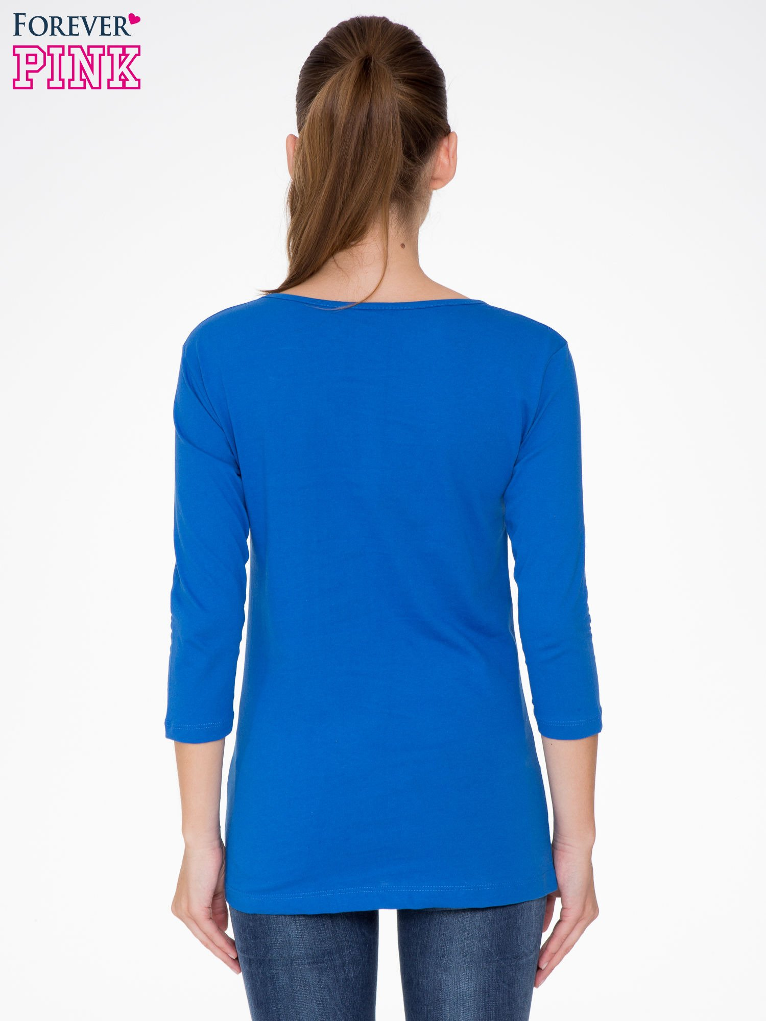 Niebieska bluzka z nadrukiem loga Instagrama                                  zdj.                                  4