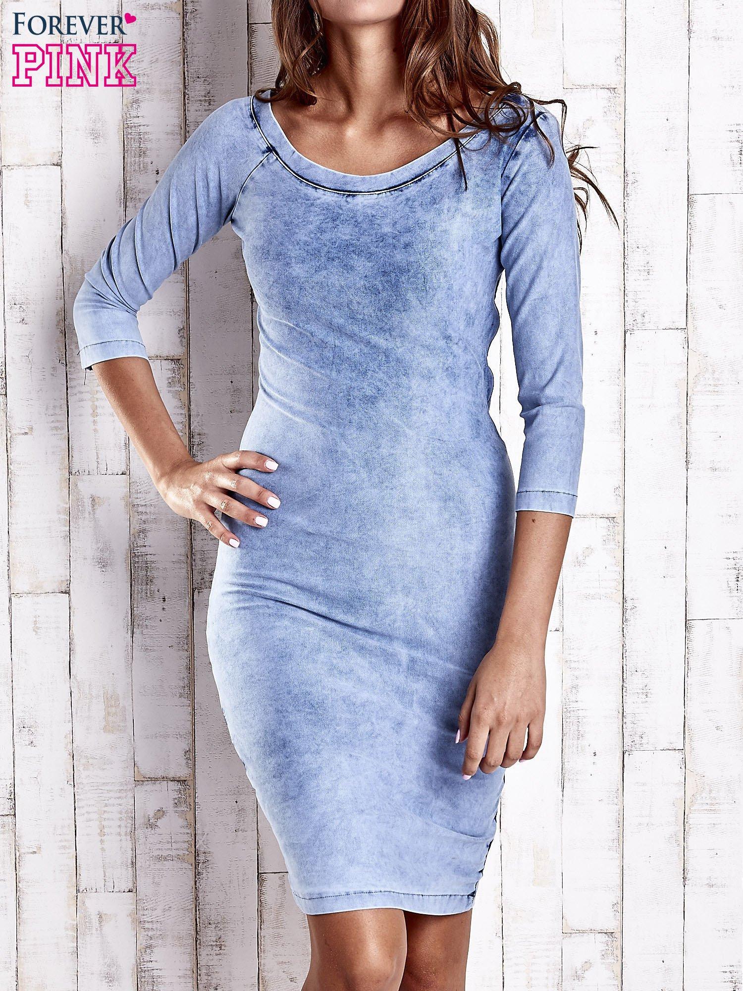 Niebieska denimowa sukienka z dekoltem w łódkę                                  zdj.                                  1