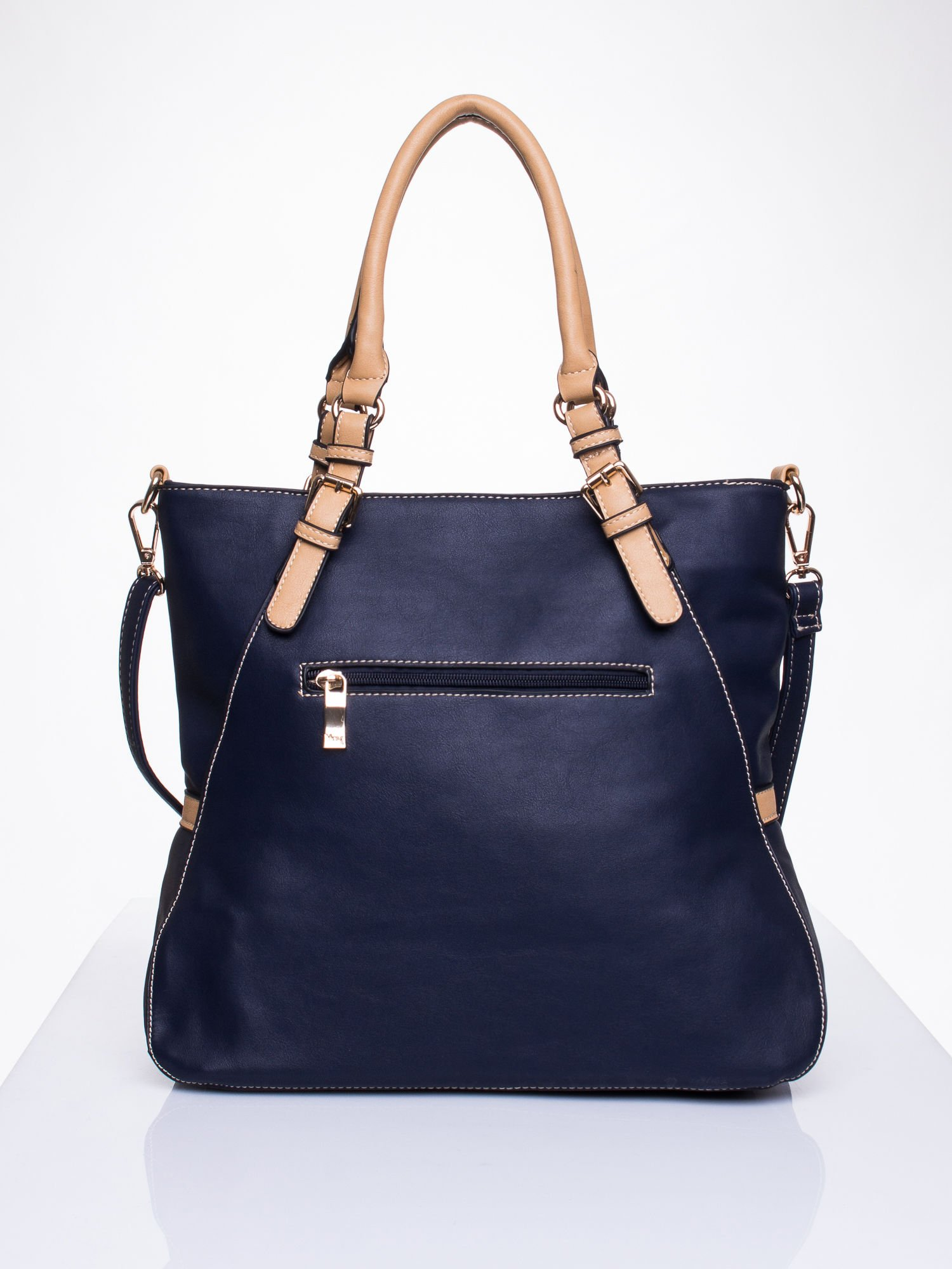 Niebieska dziurkowana torba shopper z portfelem                                  zdj.                                  2