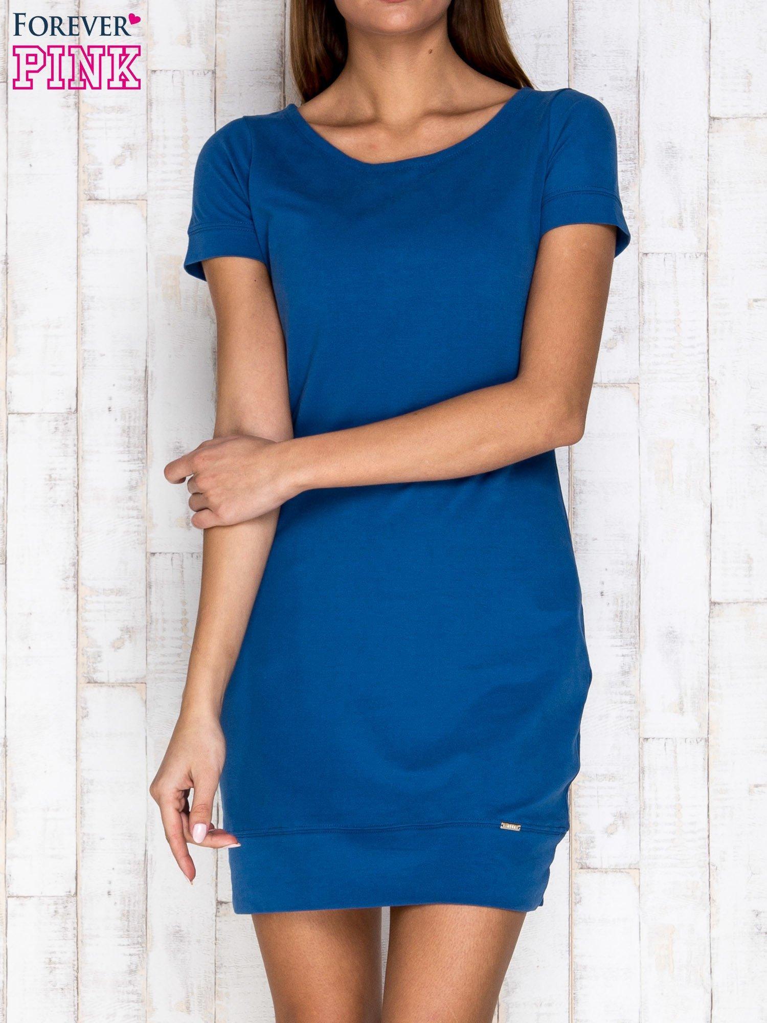 Niebieska gładka sukienka ze ściągaczem na dole                                  zdj.                                  1