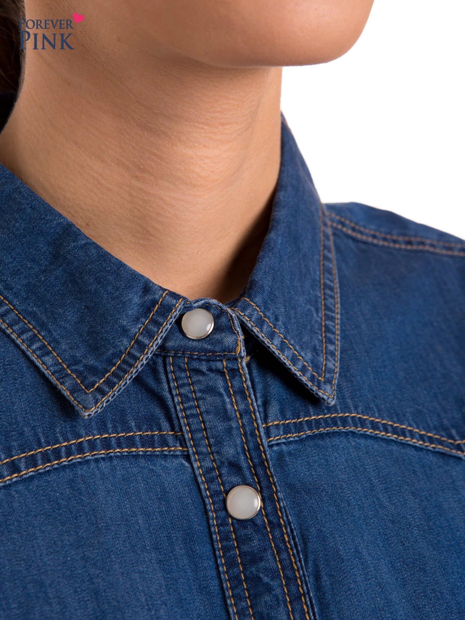 Niebieska jeansowa koszula z przetarciami                                  zdj.                                  6