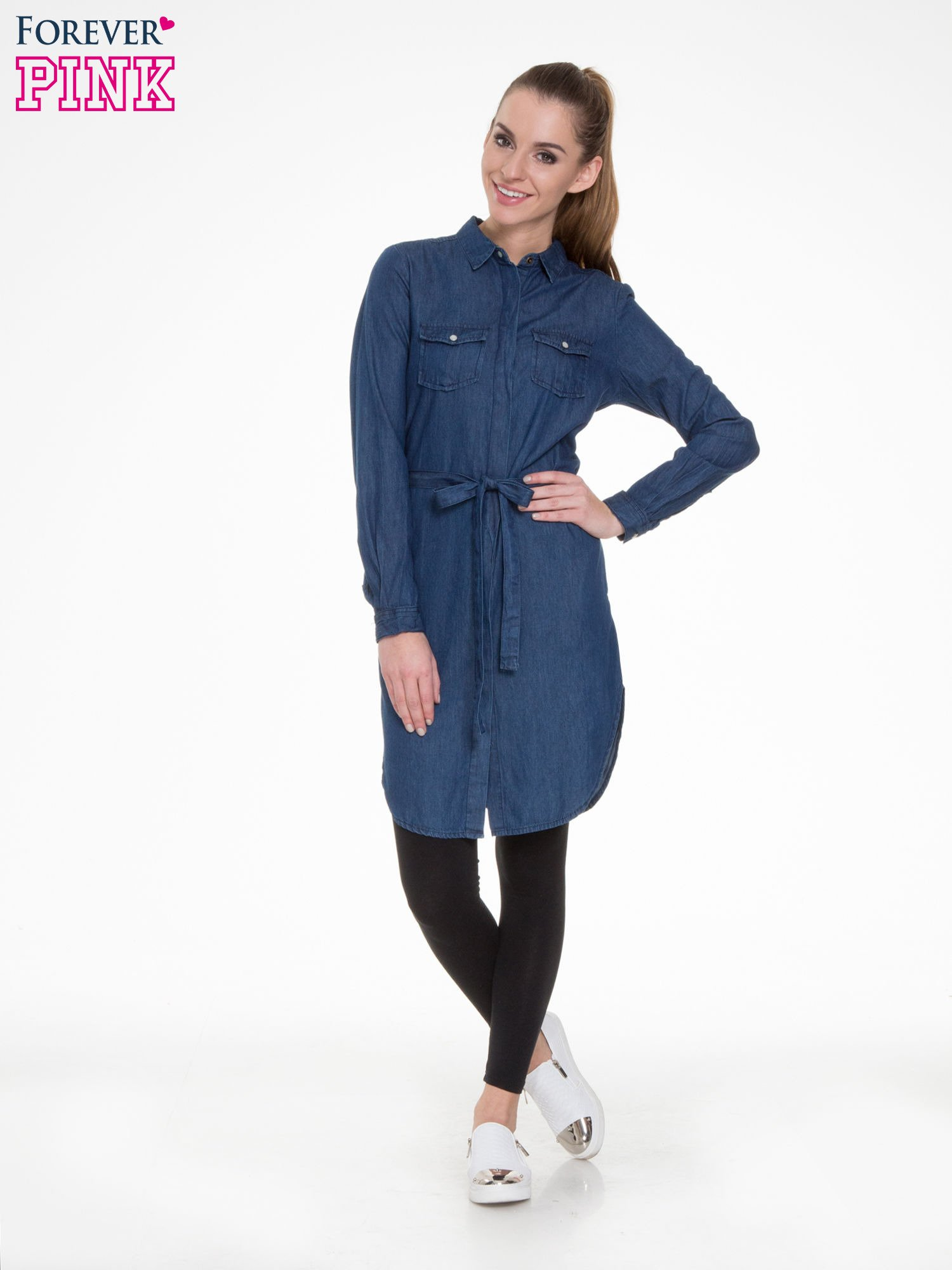 eacab41ca3 Niebieska jeansowa sukienka typu szmizjerka - Bluzka Tunika - sklep  eButik.pl