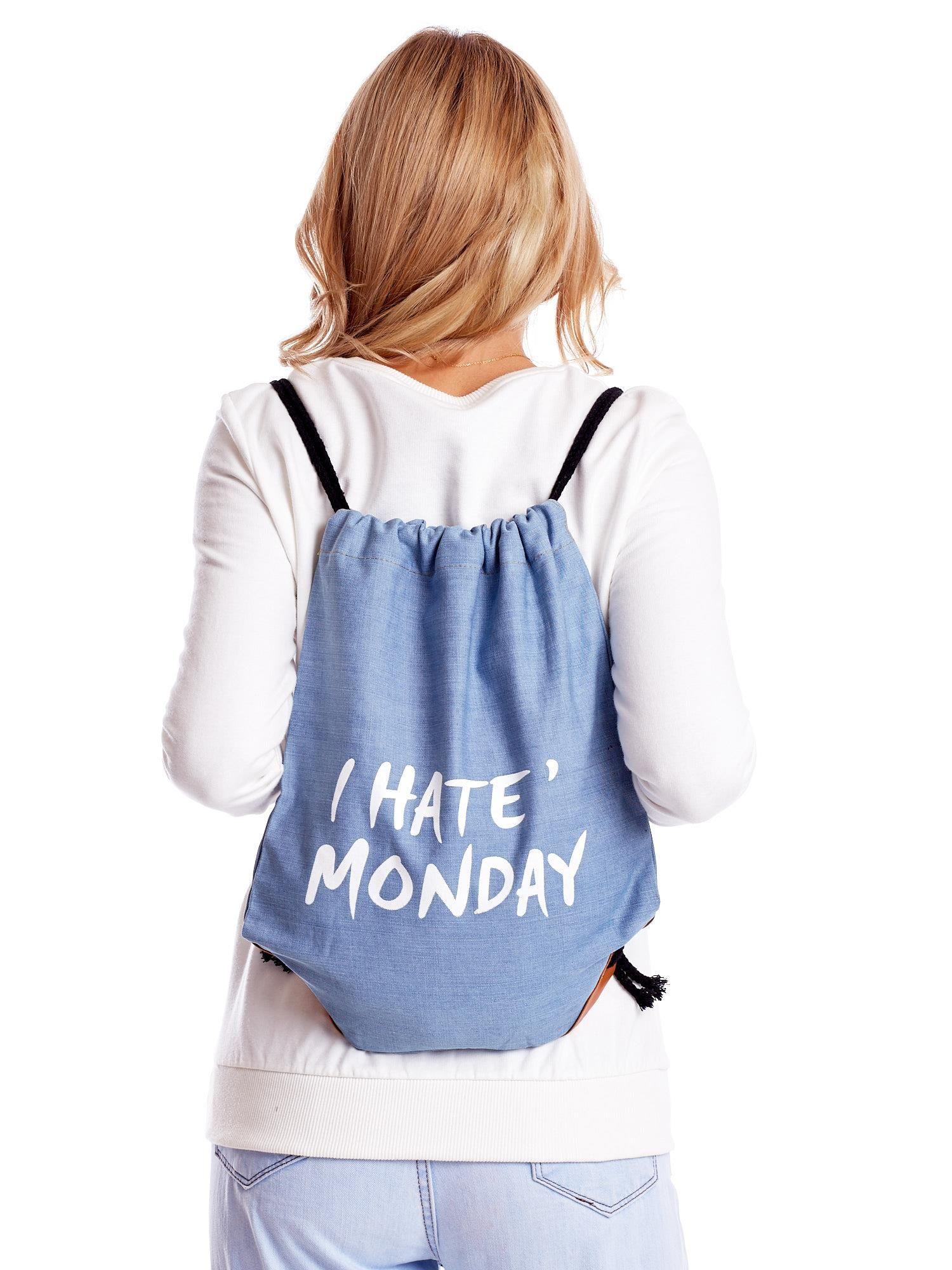 172cb240 Niebieska jeansowa torba worek z napisem