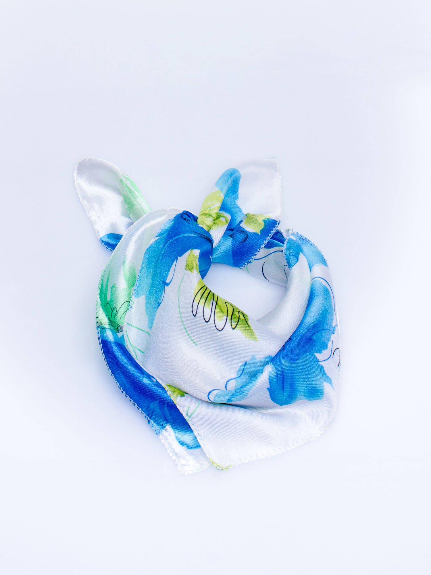 Niebieska jedwabna chusta apaszka w kwiaty                                  zdj.                                  1