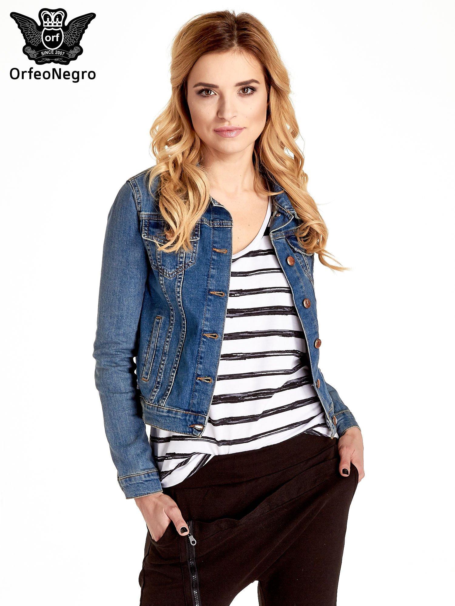 Niebieska klasyczna kurtka jeansowa damska                                  zdj.                                  1
