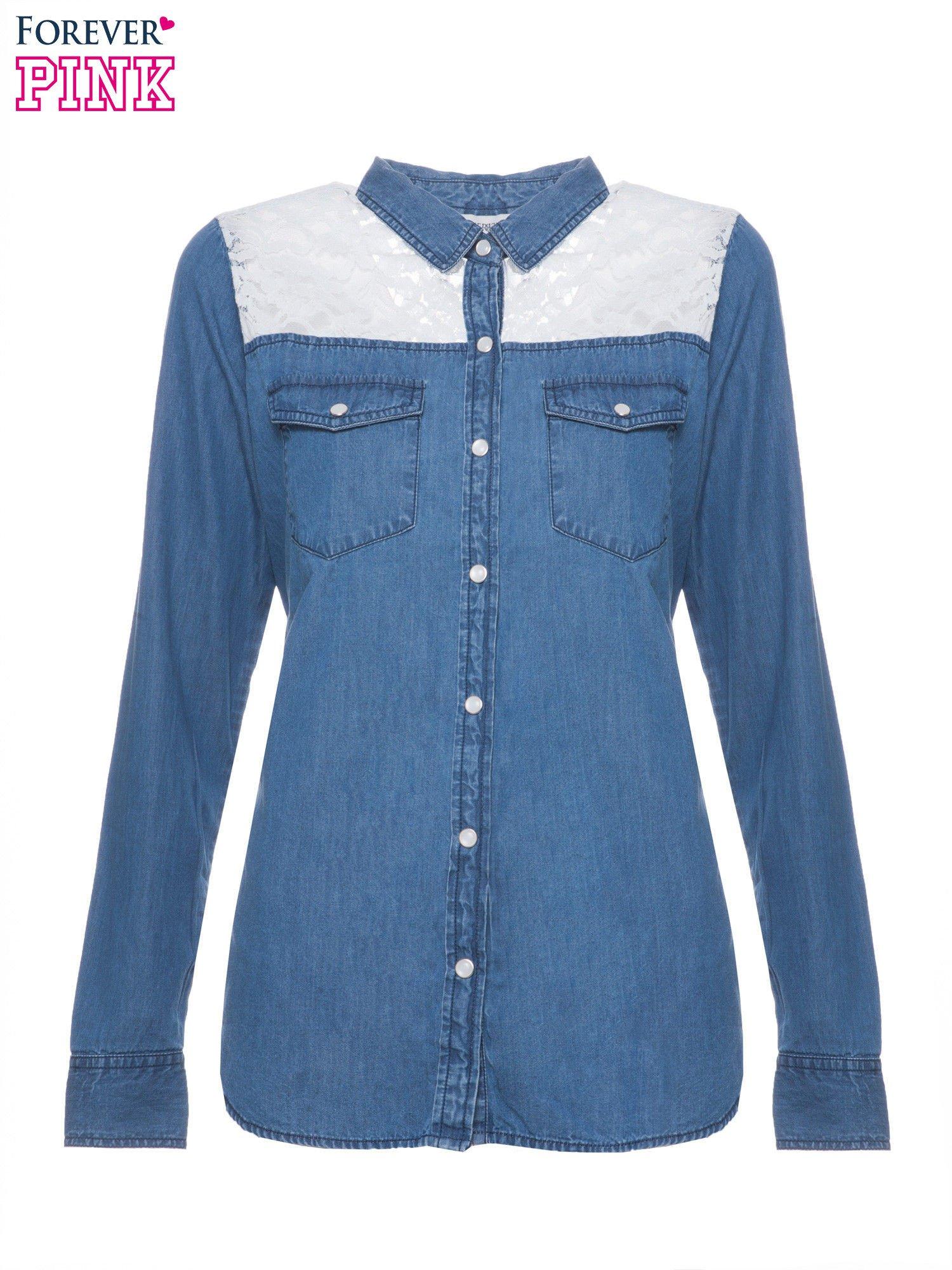 Niebieska koszula jeansowa z koronkową wstawką                                  zdj.                                  2