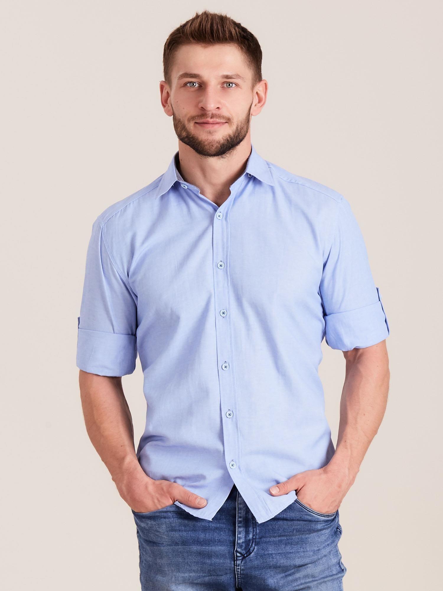 4c8993dd2500b8 Niebieska koszula męska o regularnym kroju - Mężczyźni koszula męska ...