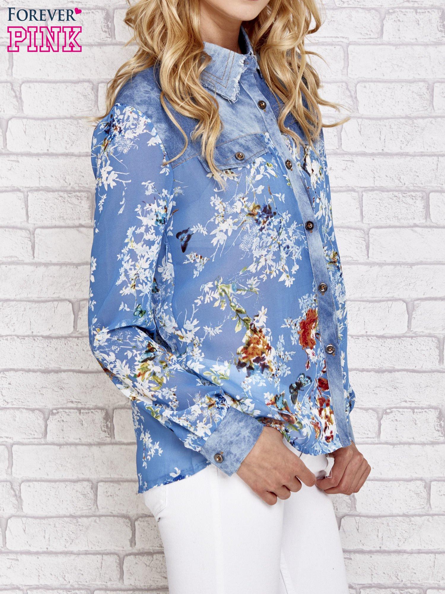 Niebieska koszula w kwiaty ze wstawkami z denimu                                  zdj.                                  3