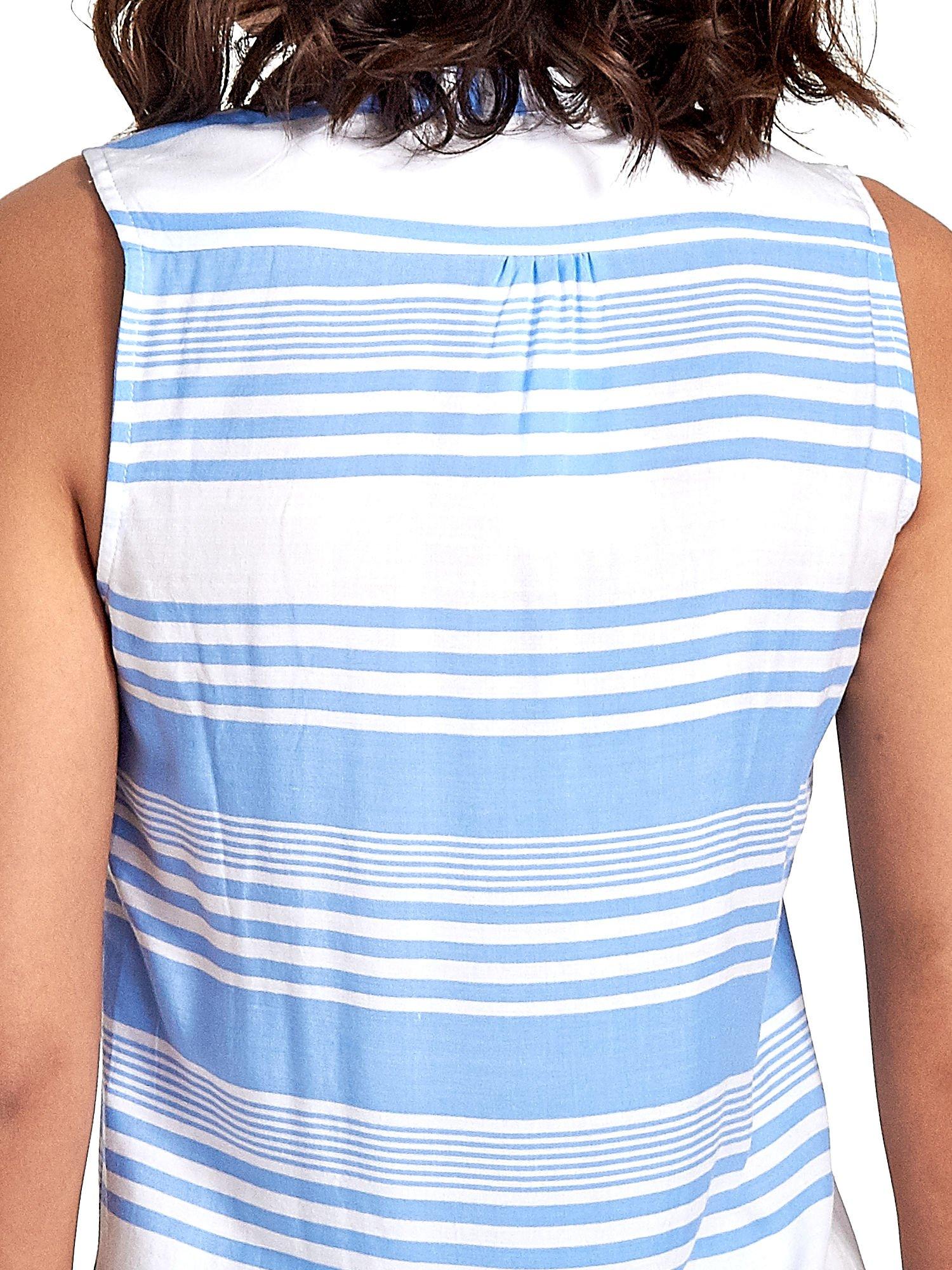 Niebieska koszula w paski bez rękawów                                  zdj.                                  6