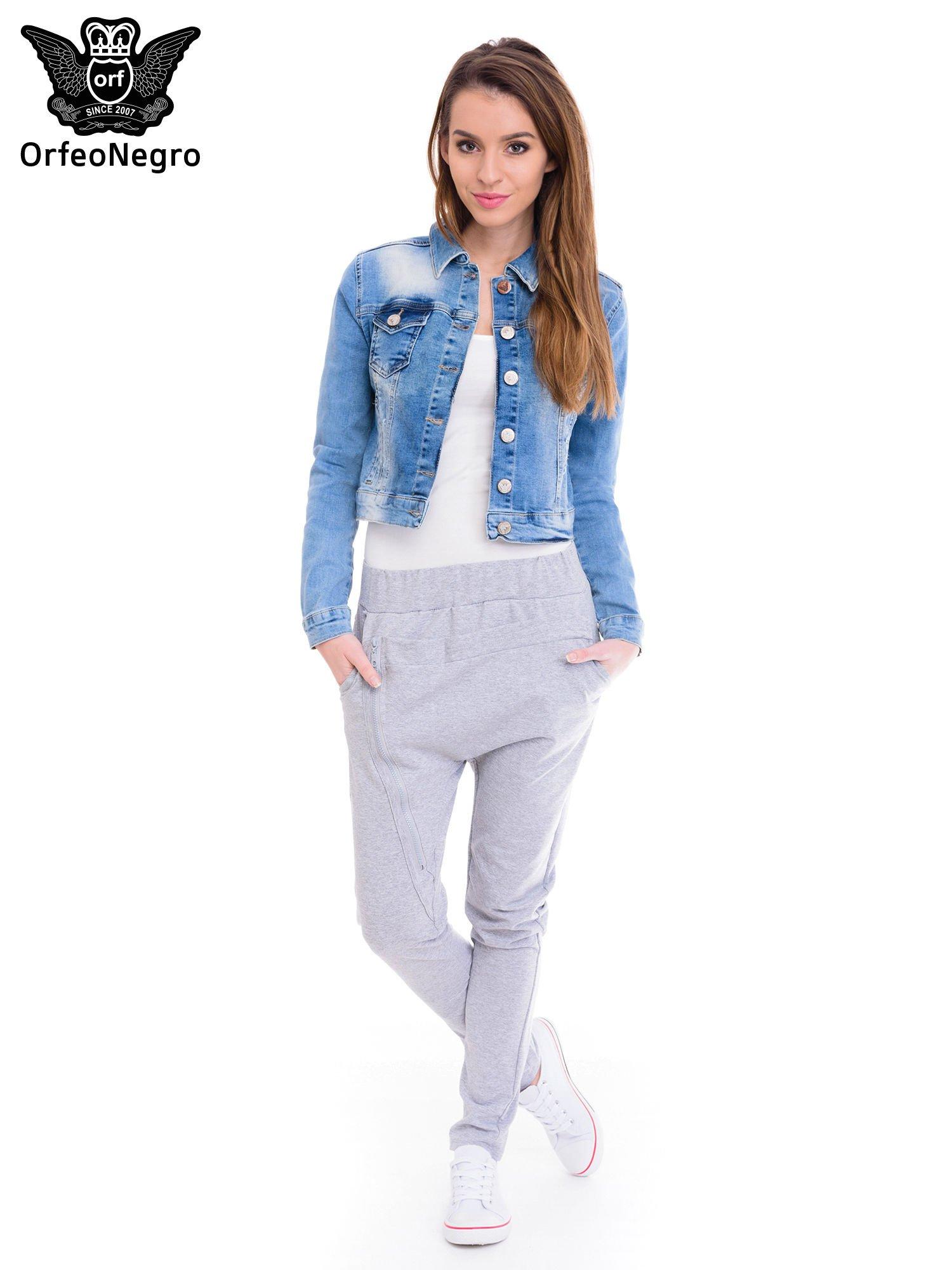 Niebieska kurtka jeansowa damska z cieniowaniem i przetarciami                                  zdj.                                  2