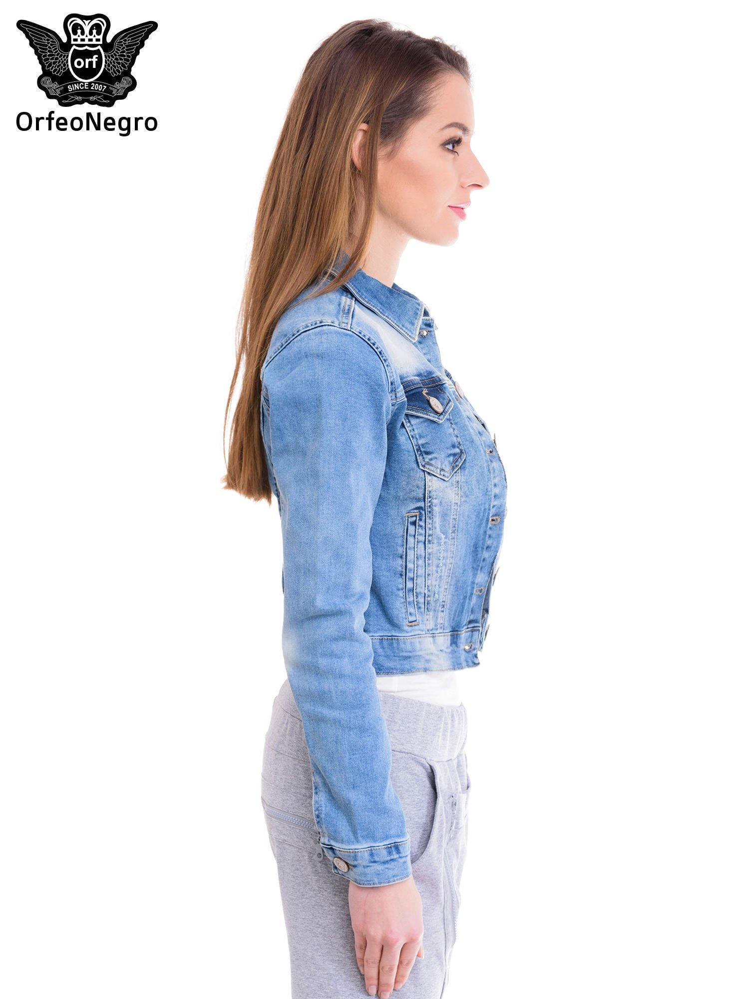 Niebieska kurtka jeansowa damska z cieniowaniem i przetarciami                                  zdj.                                  3